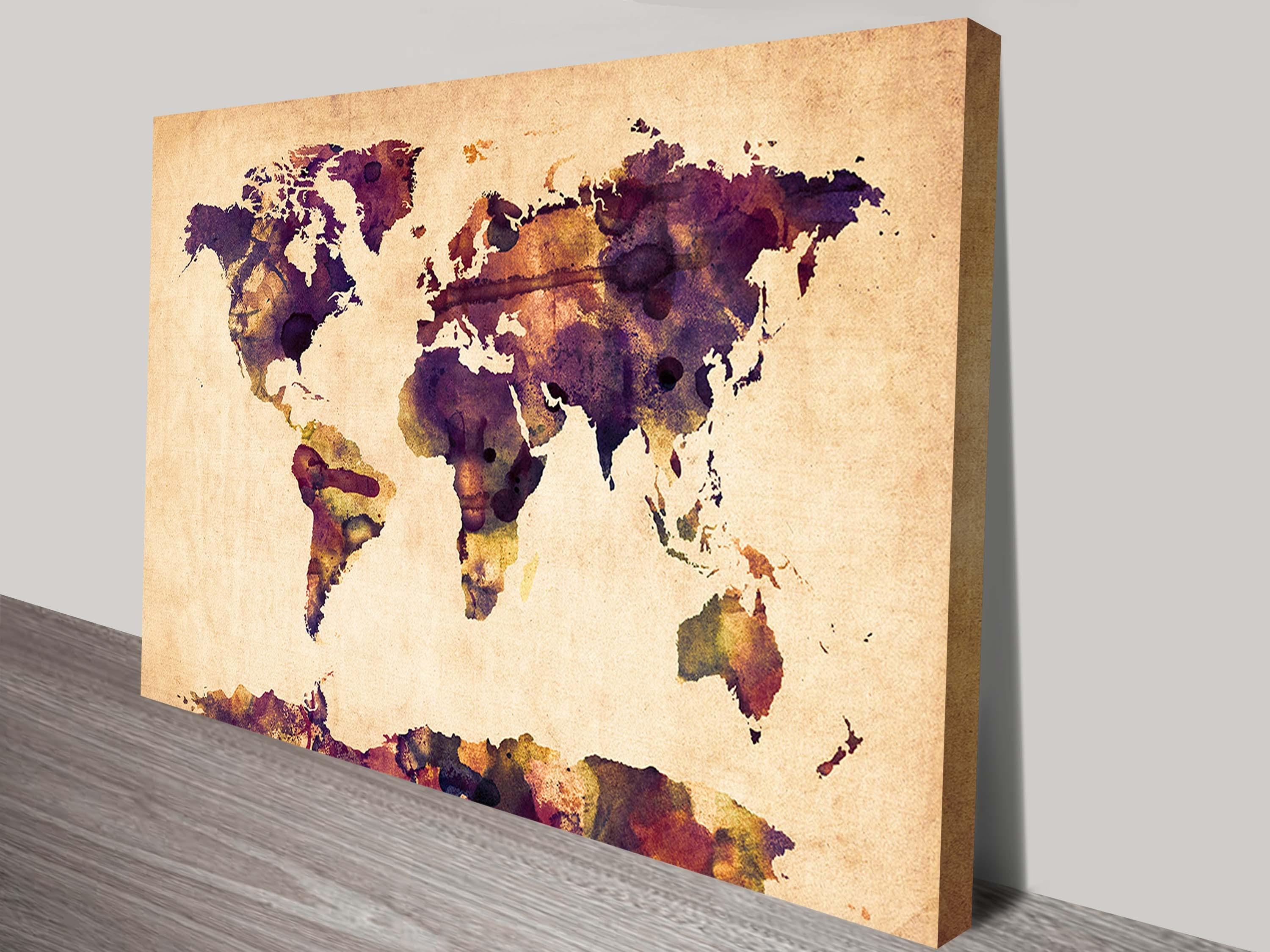 World Map In Watercolour Wall Art Canvasmichael Tompsett Pertaining To World Map Wall Art Canvas (Photo 12 of 20)