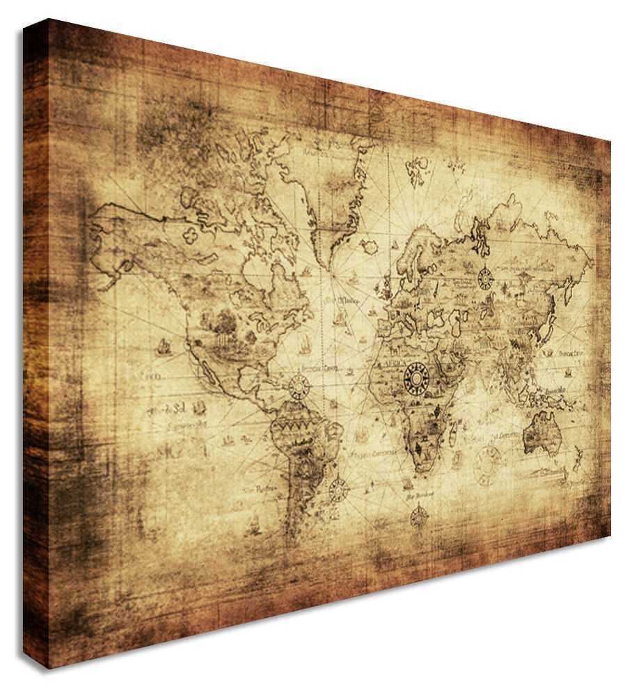 World Map Painting Canvas Beautiful World Map Vintage Printed Canvas In World Map Wall Art Canvas (View 19 of 20)