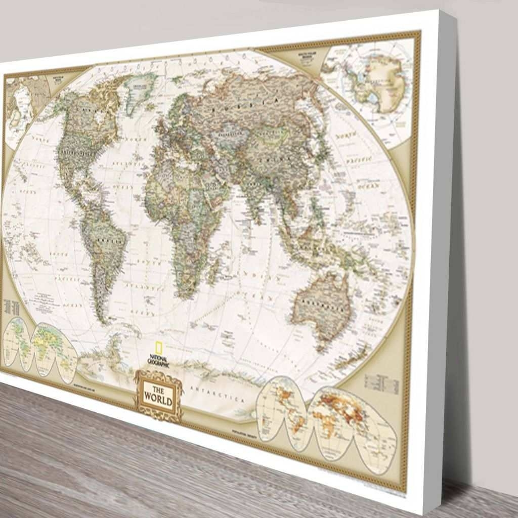 World Map Painting Canvas Lovely 2018 Latest Map Wall Art Maps Pertaining To Wall Art Map Of World (Photo 12 of 20)
