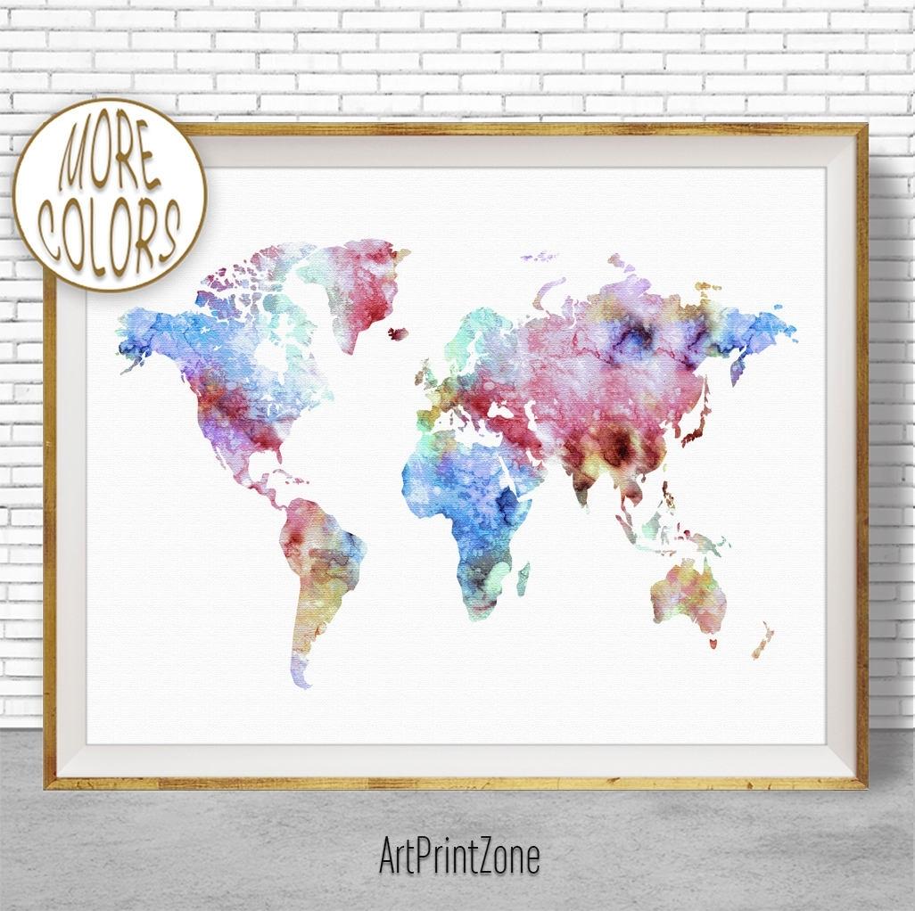 World Map Print World Map Wall Art World Print World Map Poster With Regard To Map Wall Art Prints (Photo 14 of 20)