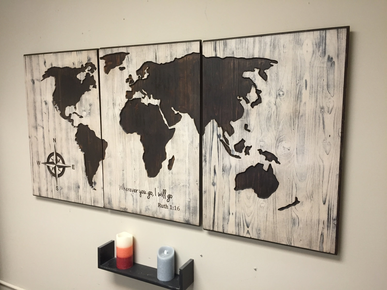 World Map Reclaimed Barn Door Wood String Art Wall Decor 39 X 29 And With Regard To String Map Wall Art (View 19 of 20)