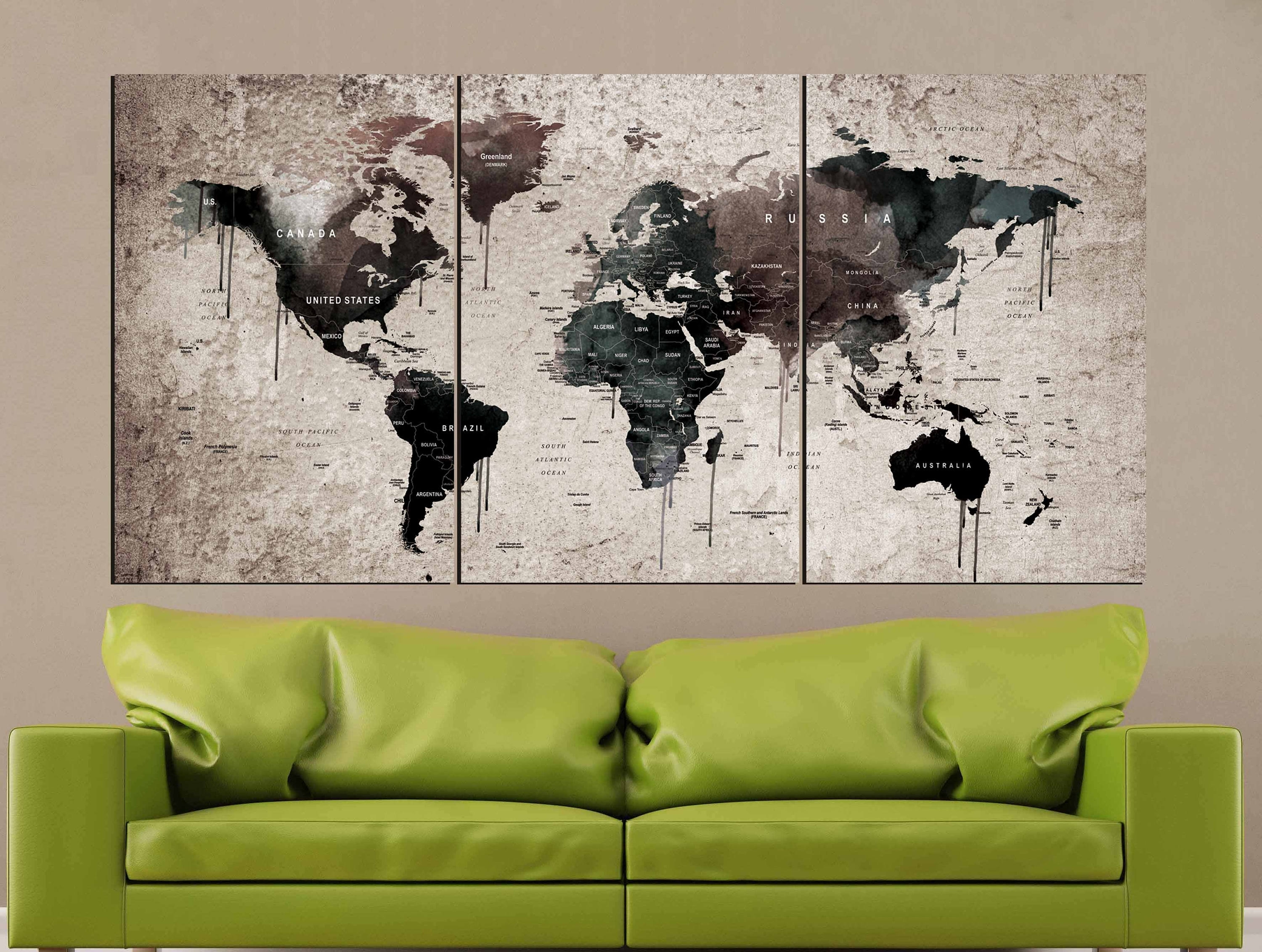 World Map Vintage,world Map Wall Art,vintage Map Canvas Print,world inside Vintage Map Wall Art (Image 17 of 20)