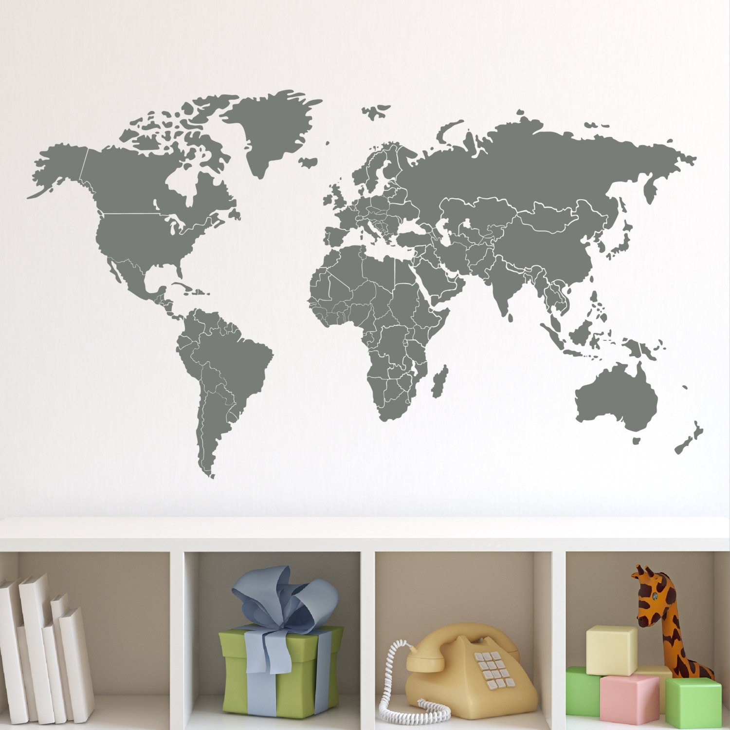 World Map Vinyl Wall Decal   Elitflat Regarding Vinyl Wall Art World Map (Photo 4 of 20)