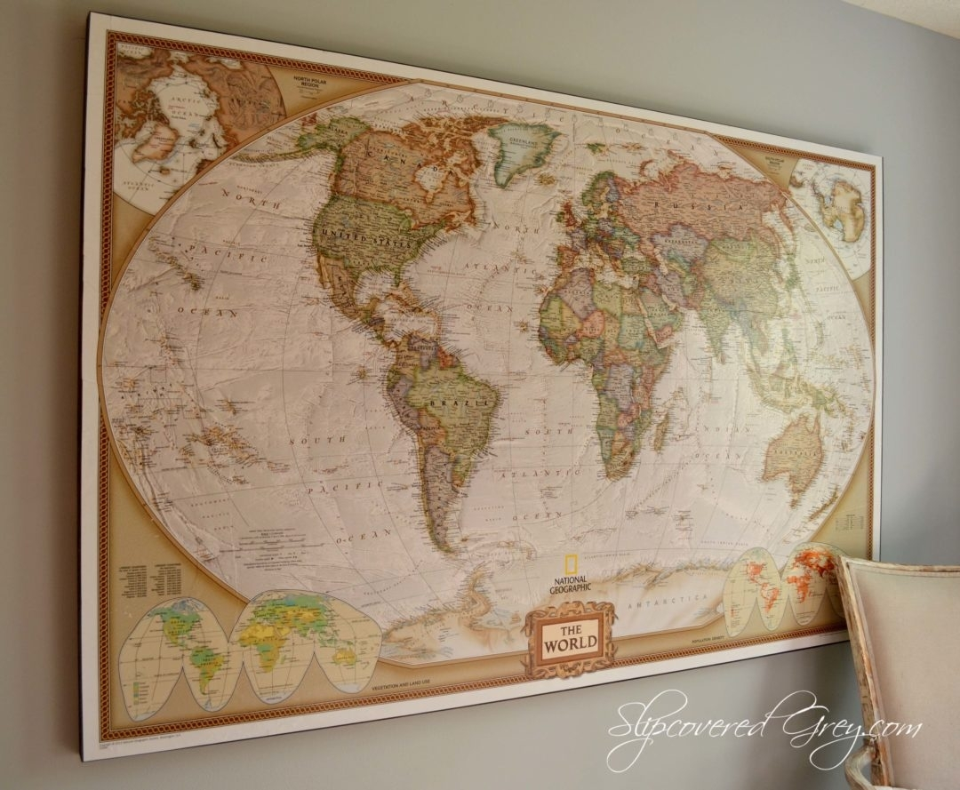 World Map Wall Art - Slipcovered Grey in Maps Wall Art (Image 15 of 20)