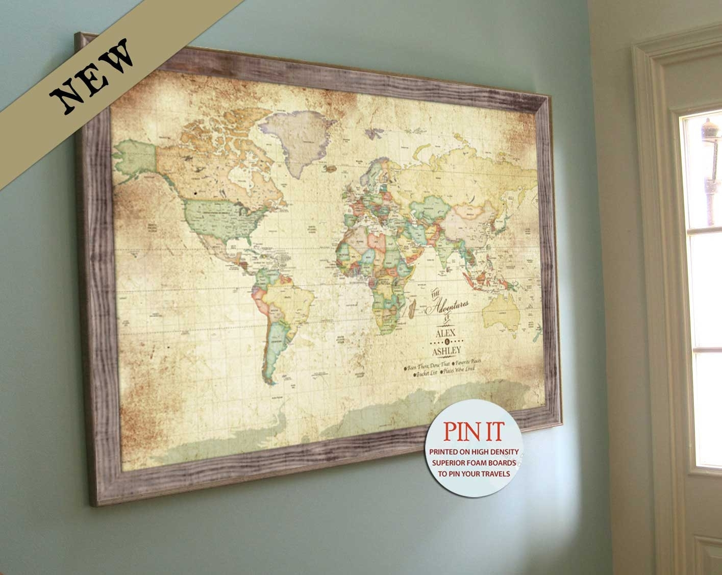 World Map Wall Art Worldmap Framed Push Pin Best Of Large Afefd In Within World Map Wall Art Framed (Photo 9 of 20)