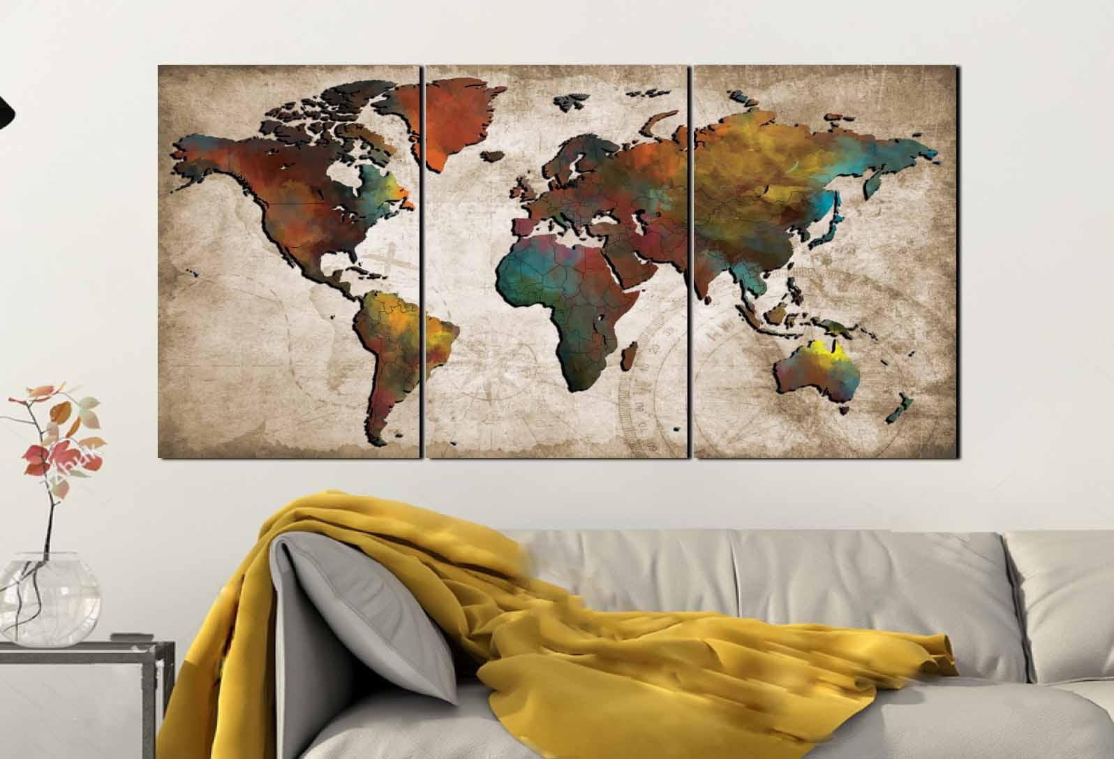 World Map Wall Art,abstract Push Pin Map,colorful World Map,world For World Map Wall Art Canvas (View 20 of 20)
