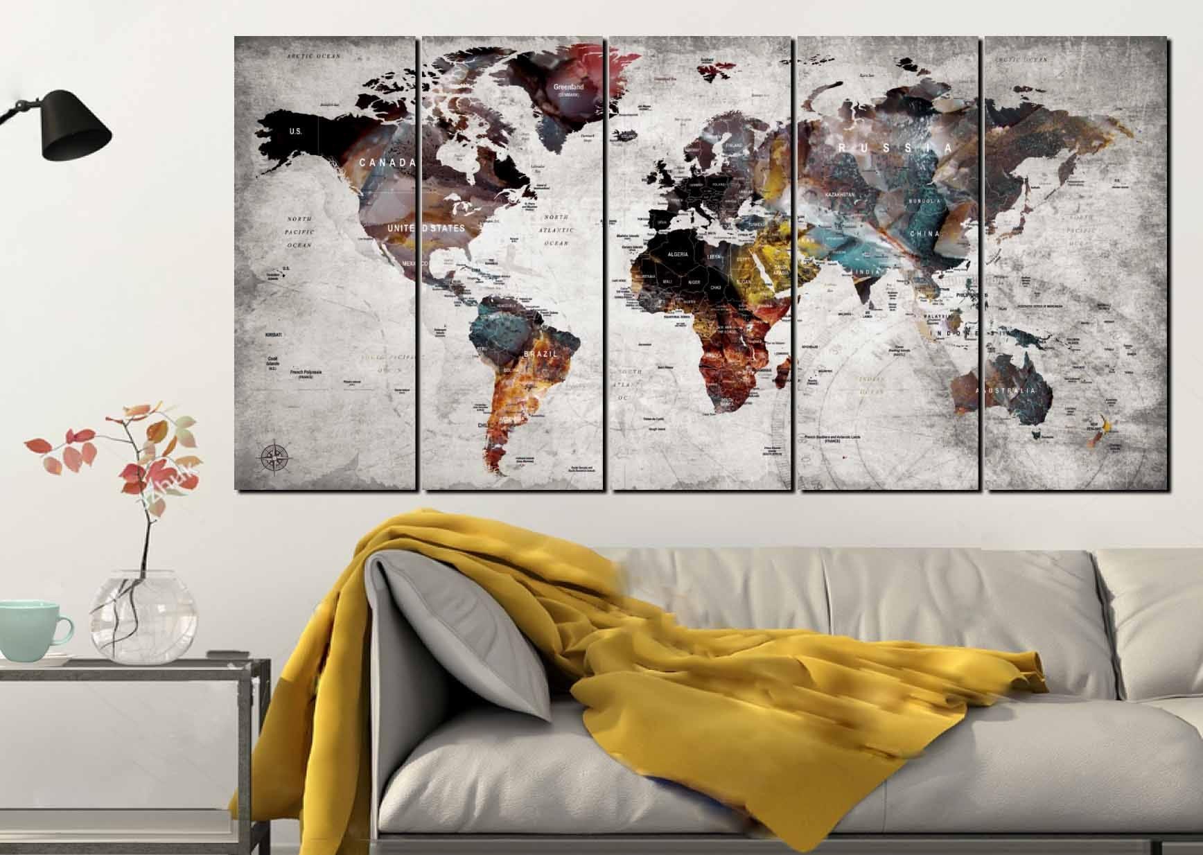 World Map Wall Art,world Map Canvas Art,large World Map,world Map 5 Throughout Wall Art Map Of World (Photo 16 of 20)
