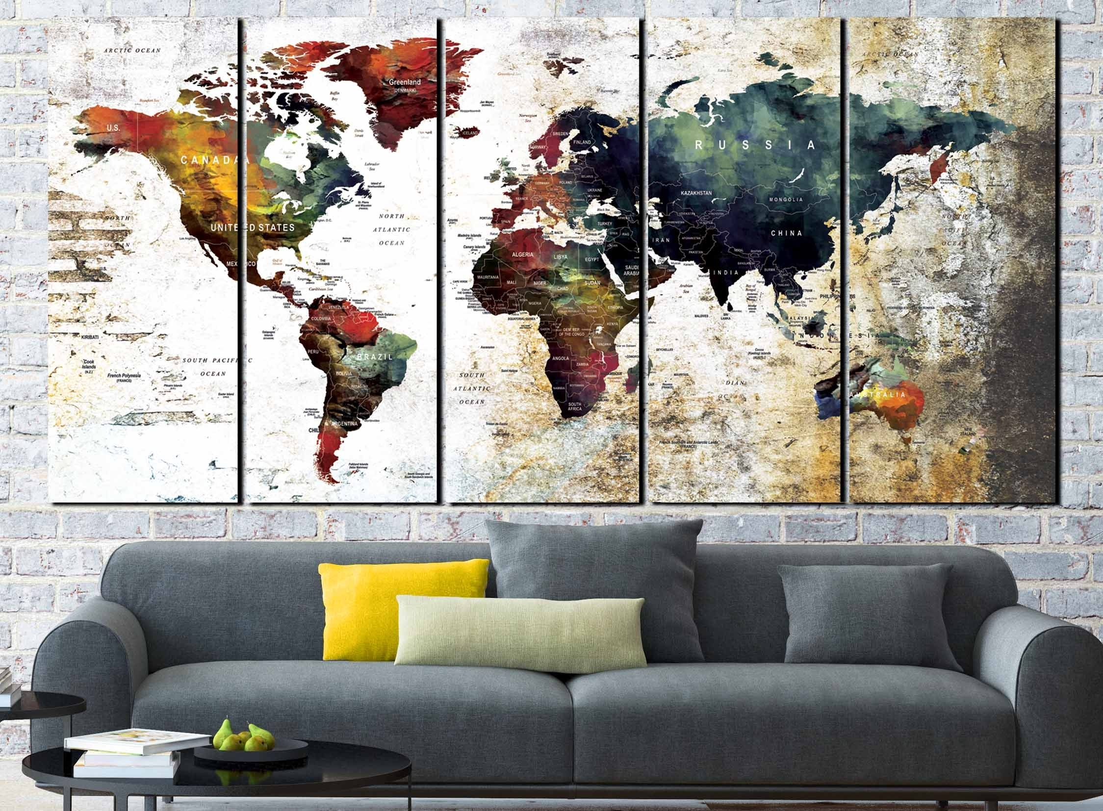 World Map Wall Art,world Map Canvas,large World Map,world Map Art With World Map Wall Art Canvas (View 11 of 20)
