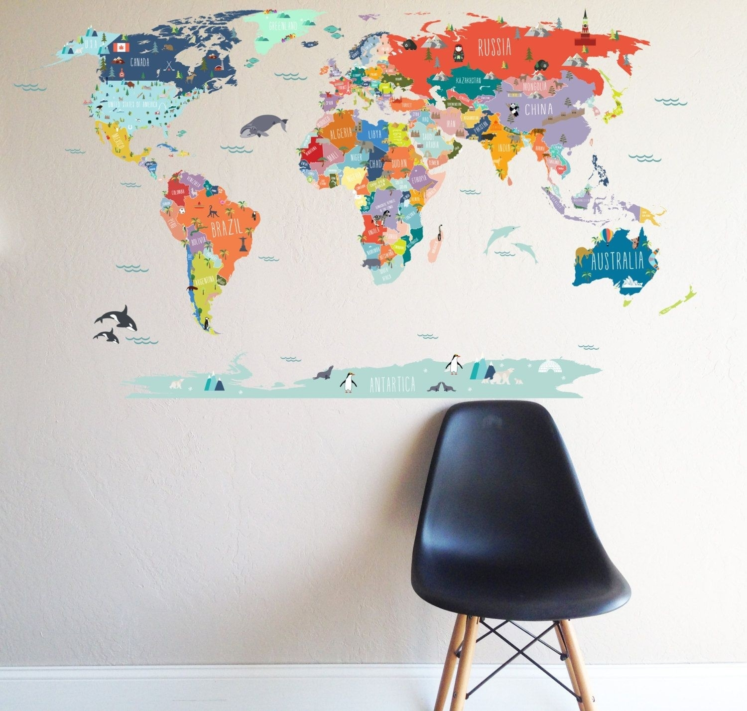 World Map Wall Decal 1 | Free Maps World Wide With Regard To Map Of The World Wall Art (Photo 10 of 20)