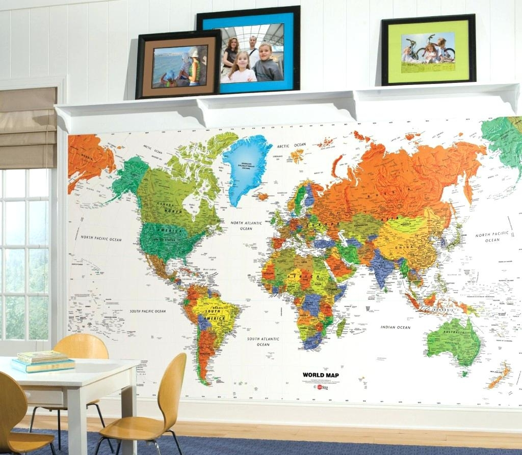 World Map Wall Decal Kids Large Colorful Nursery Removable Decals Pertaining To World Map Wall Art For Kids (View 6 of 20)