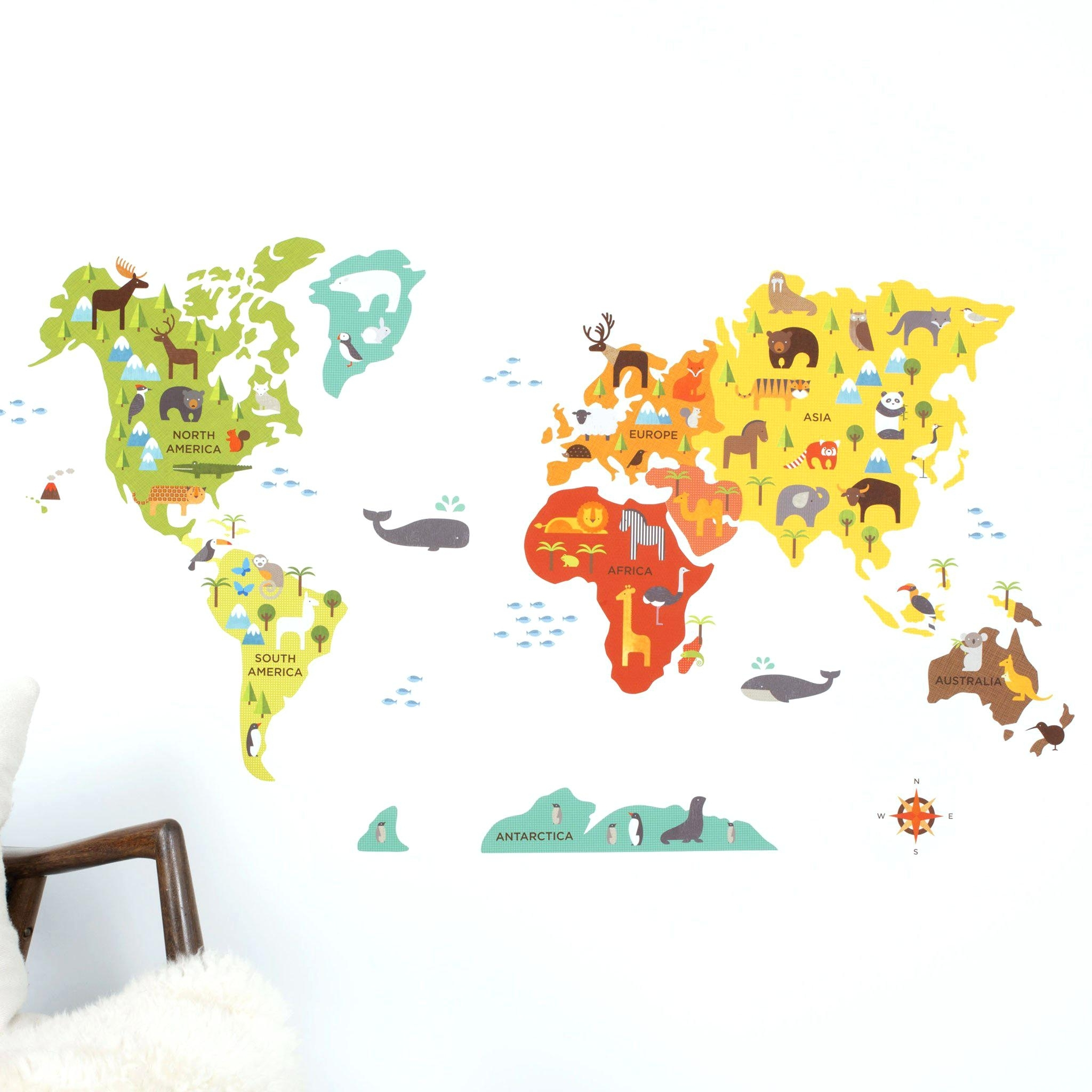 World Map Wall Decal Kids World Map Wall Decal World Map Wall Decal In World Map Wall Art For Kids (View 9 of 20)