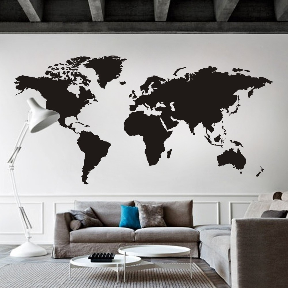 World Map Wall Decal The Whole World Atlas Vinyl Wall Art Sticker Intended For Wall Art Stickers World Map (Photo 2 of 20)
