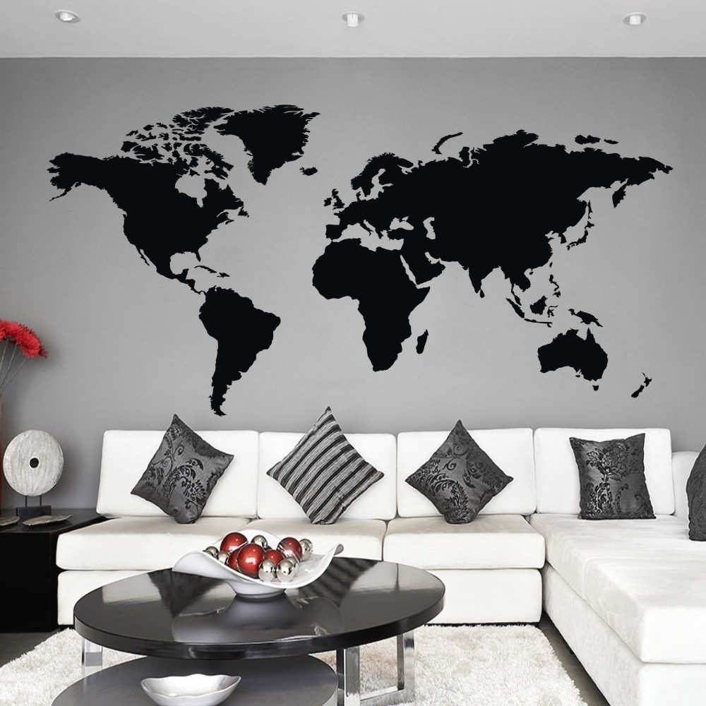 World Map Wall Decal The Whole World Atlas Vinyl Wall Art Sticker With Vinyl Wall Art World Map (Photo 16 of 20)