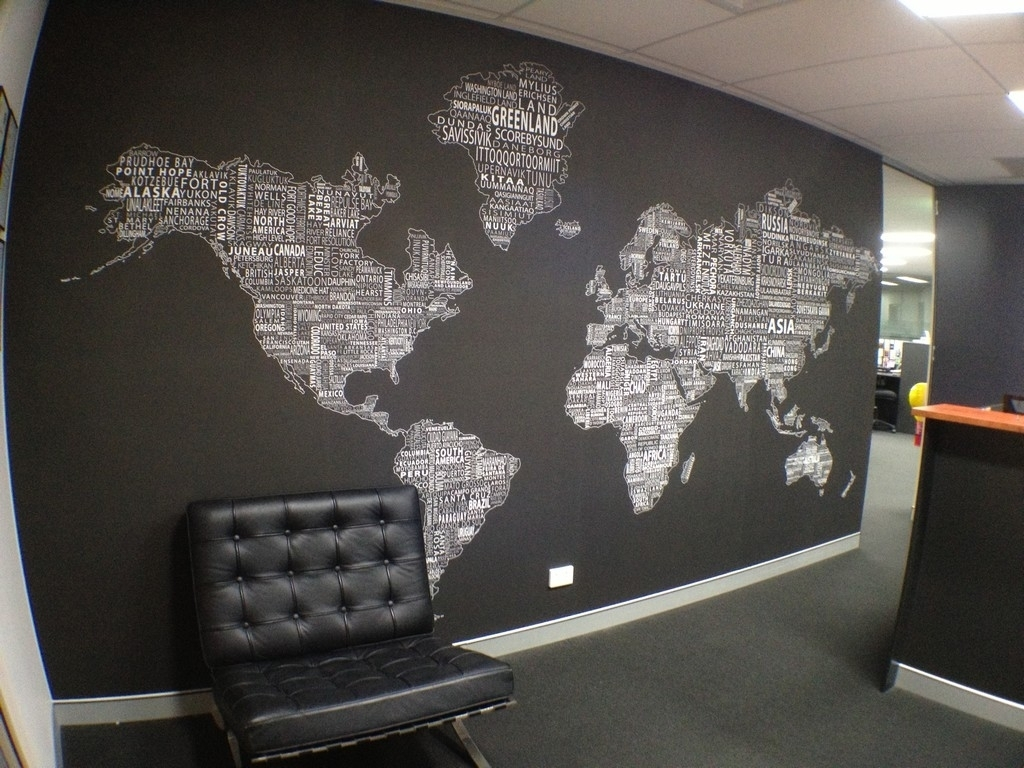 World Map Wall Decor For Modern Office Design With Black And White throughout Maps Wall Art (Image 17 of 20)