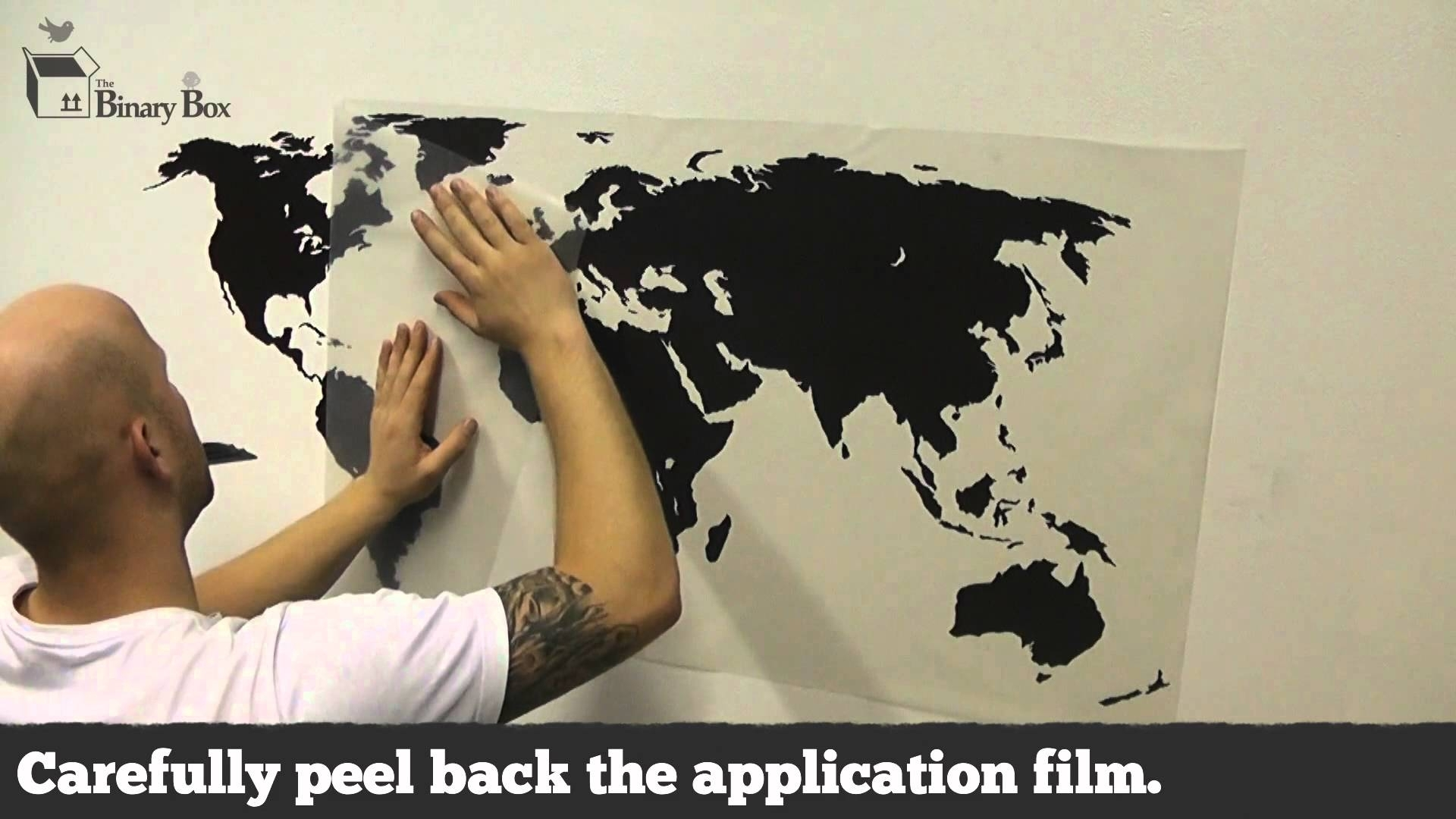 World Map Wall Sticker Application   The Binary Box   Youtube Within Vinyl Wall Art World Map (Photo 19 of 20)