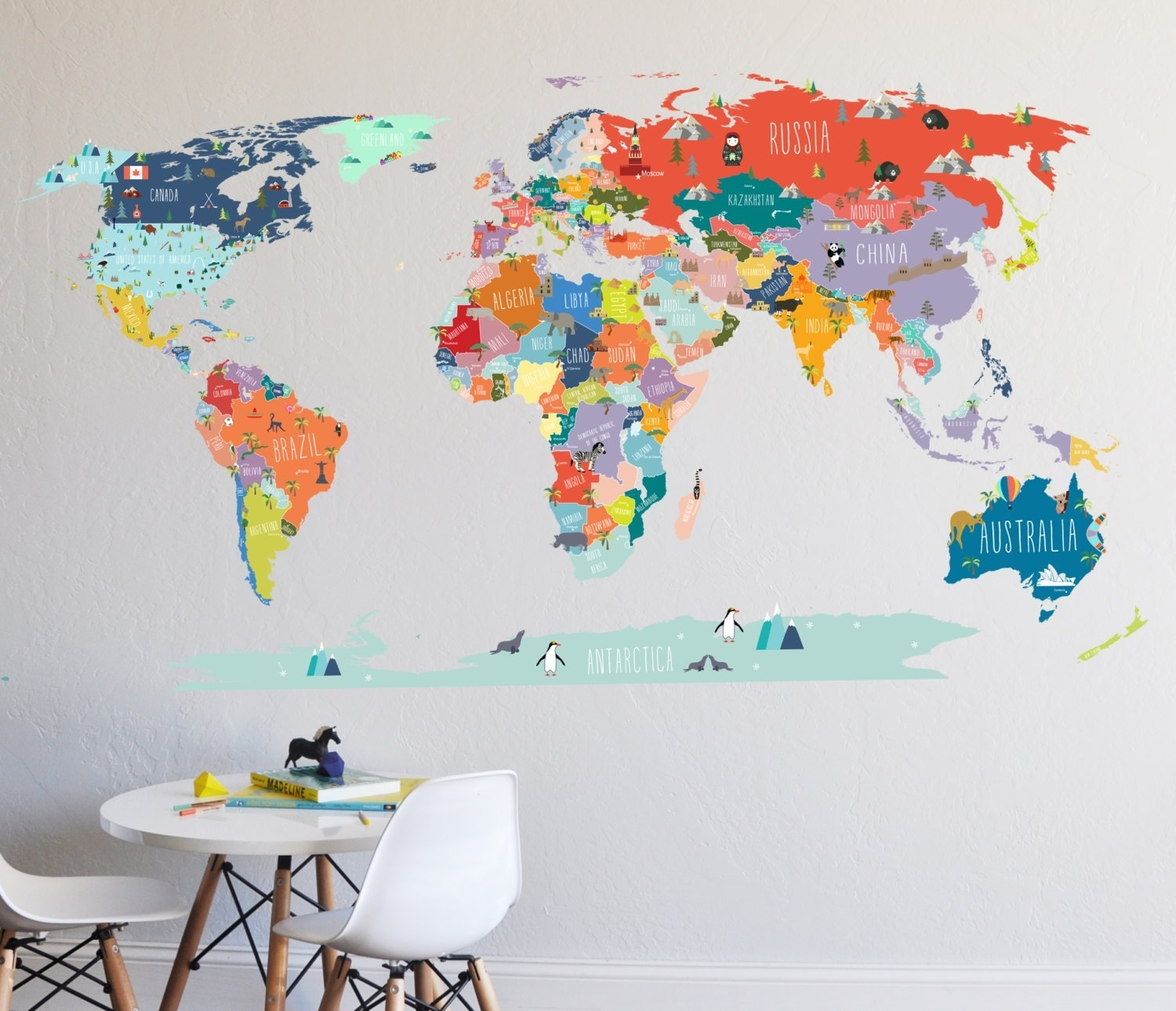 World Map Wall Sticker With Decal Besttabletforme   Super Text With Regard To World Map Wall Art For Kids (Photo 11 of 20)