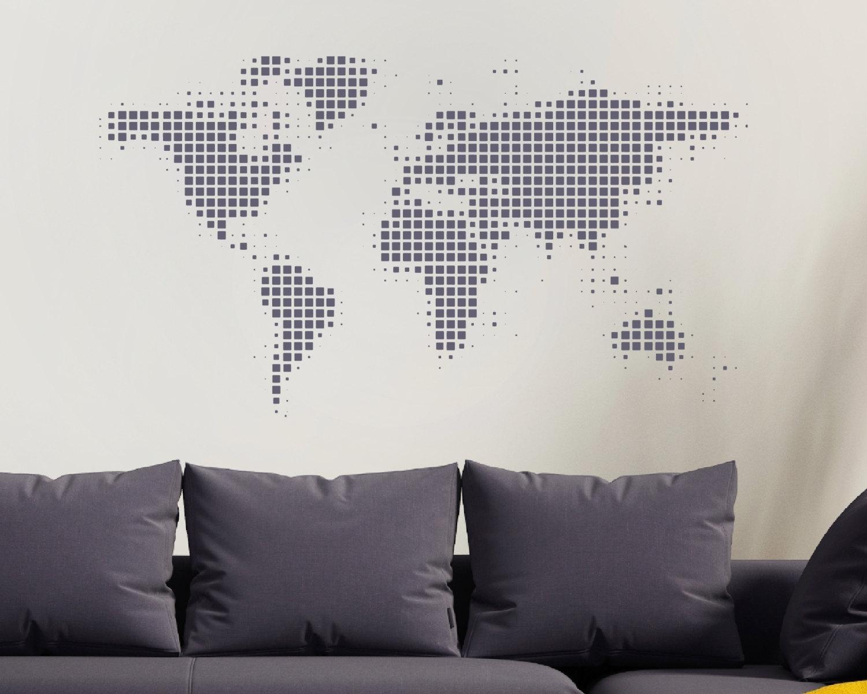 World Map Wall Sticker – World Wall Sticker – World Map – World Inside Wall Art Map Of World (View 6 of 20)