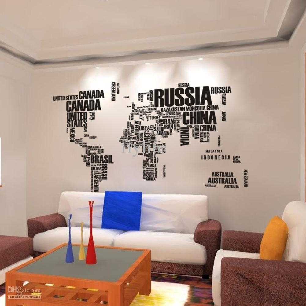 World Map Wall Stickers , Home Art Wall Decor Decals For Living Room Throughout Cool Map Wall Art (Photo 11 of 20)
