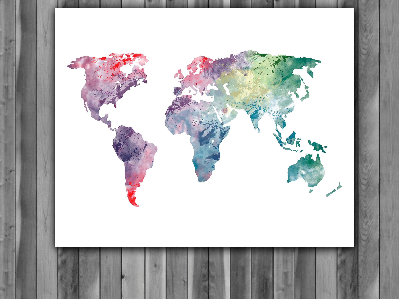 World Map Watercolor Print, World Map Art, World Map Painting, World Pertaining To Wall Art World Map (Photo 6 of 20)