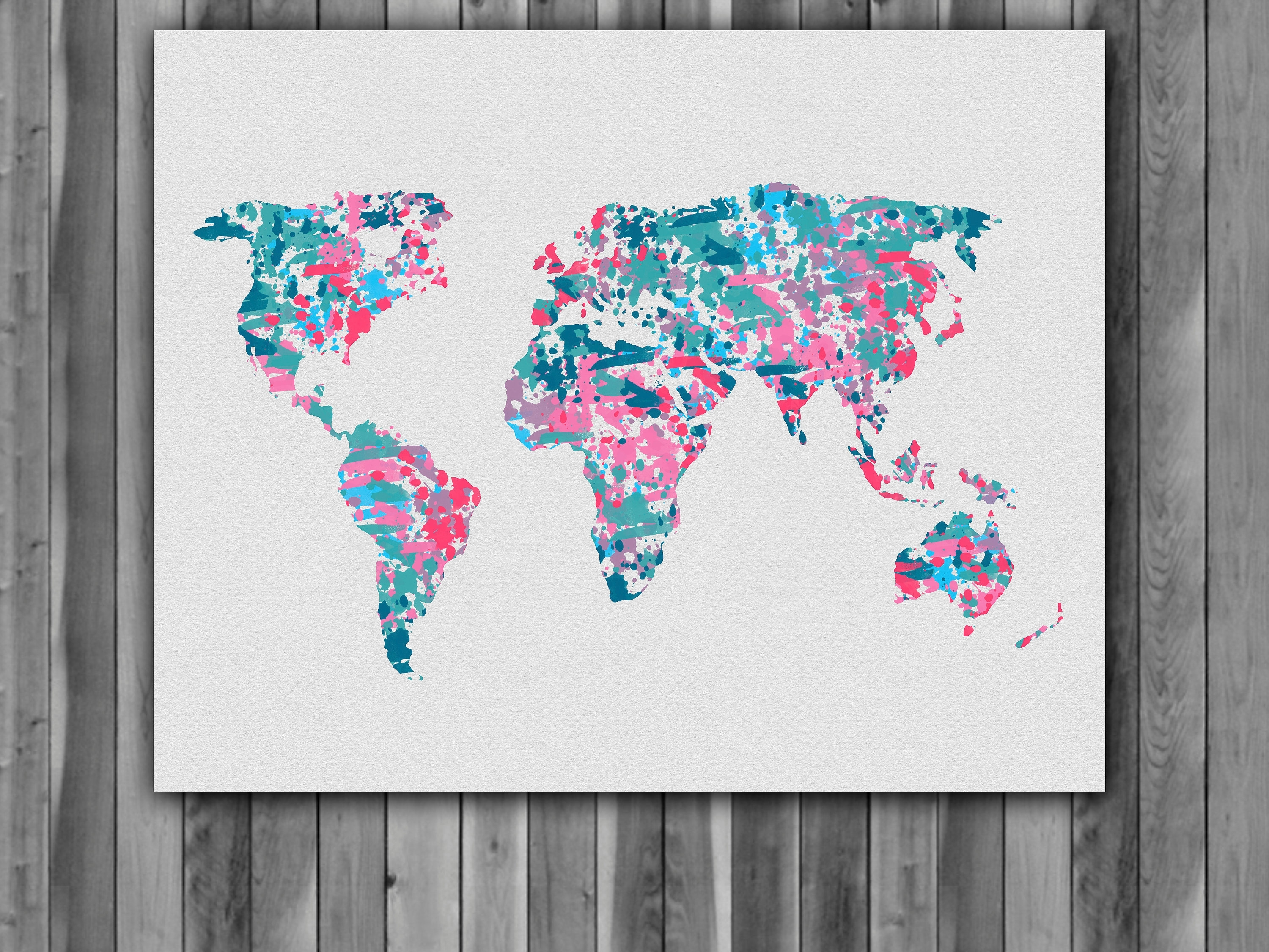 World Map Watercolor Print, World Map Art, World Map Painting, World Throughout World Map Wall Art For Kids (Photo 4 of 20)