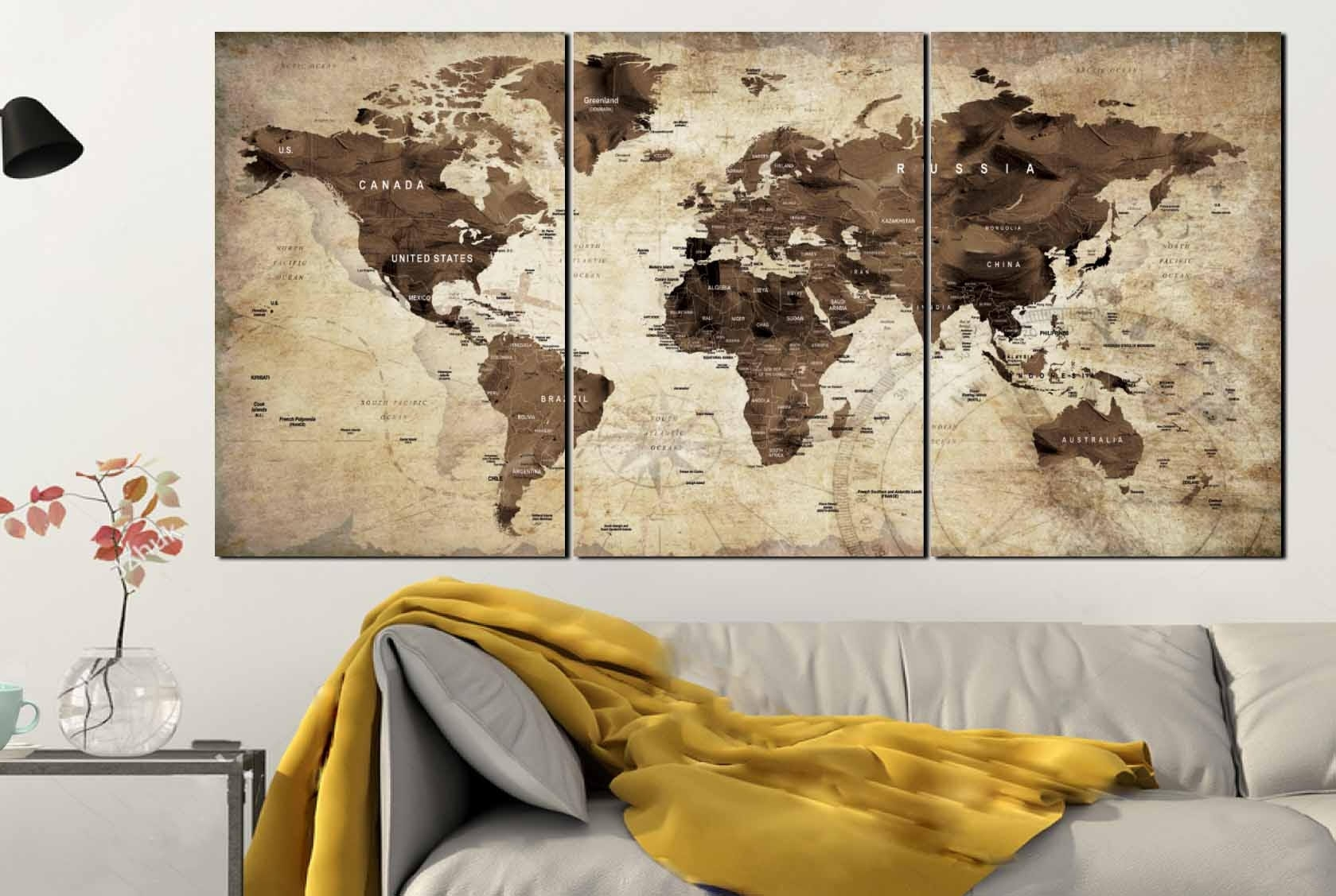 World Map,world Map Vintage,vintage Map Art,world Map Wall Art,world In Wall Art Map Of World (Photo 4 of 20)