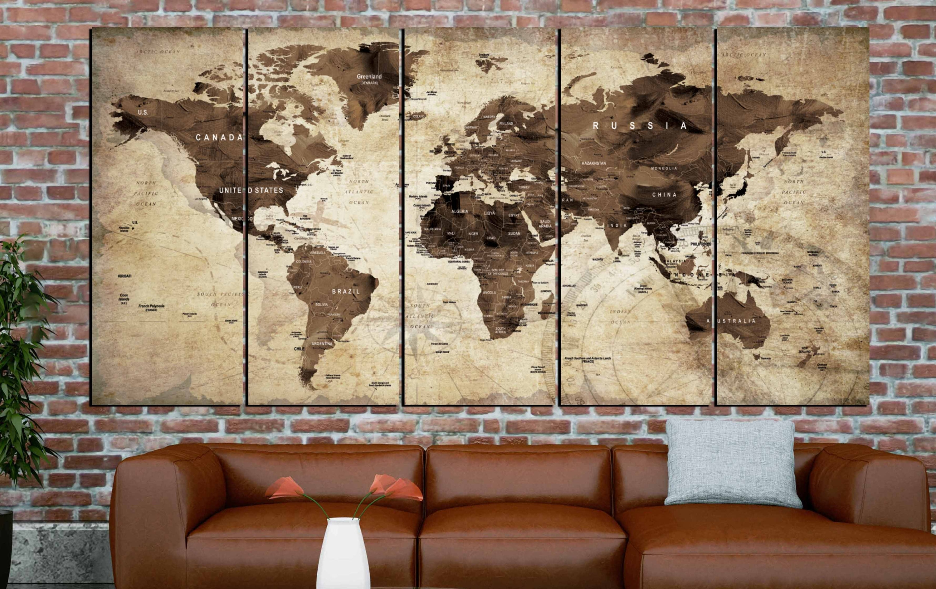 World Map,world Map Vintage,vintage Map Art,world Map Wall Art,world with regard to Vintage Map Wall Art (Image 20 of 20)