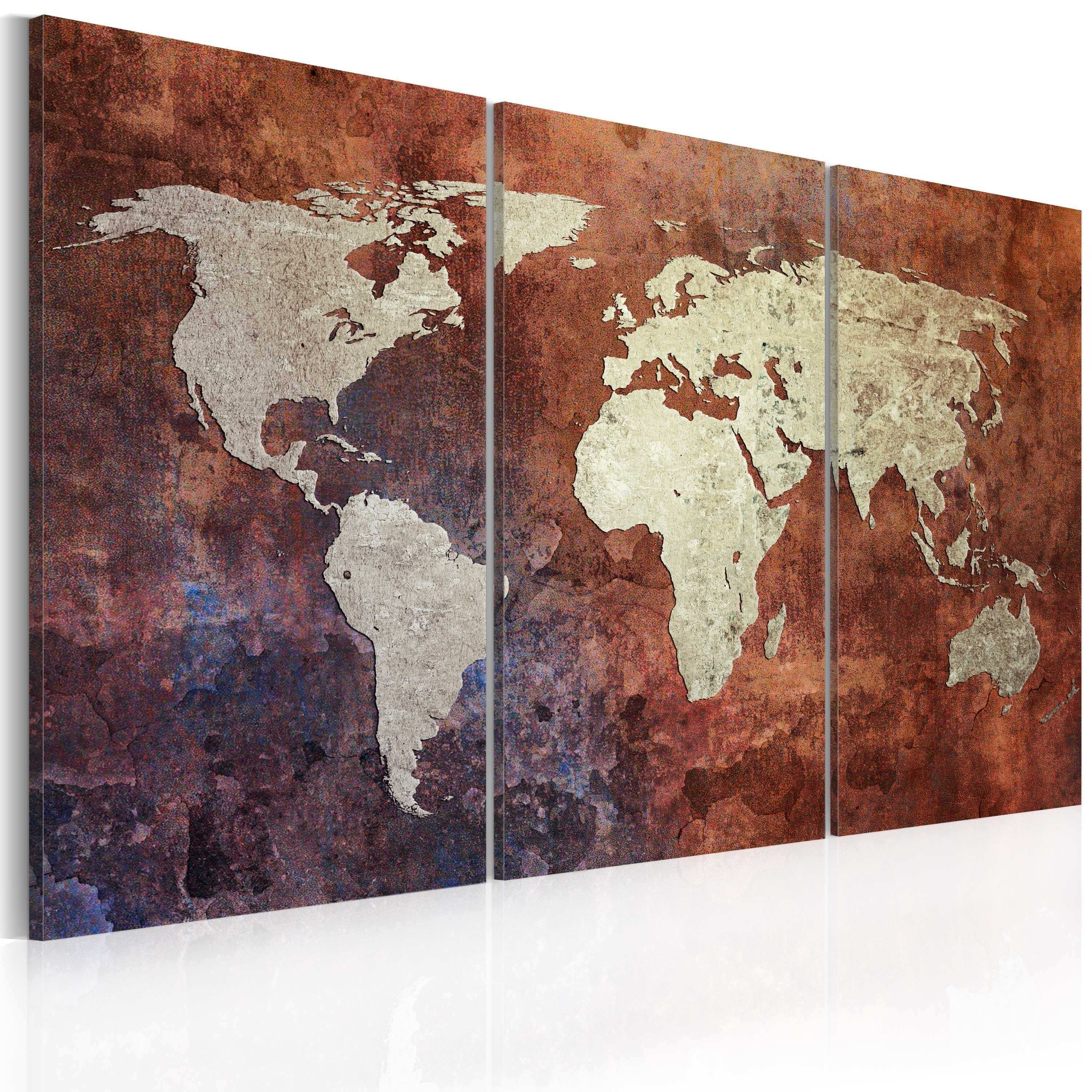 World Market Metal Wall Art Beautiful Canvas Print Rusty Map Of The Intended For World Market Wall Art (View 2 of 20)
