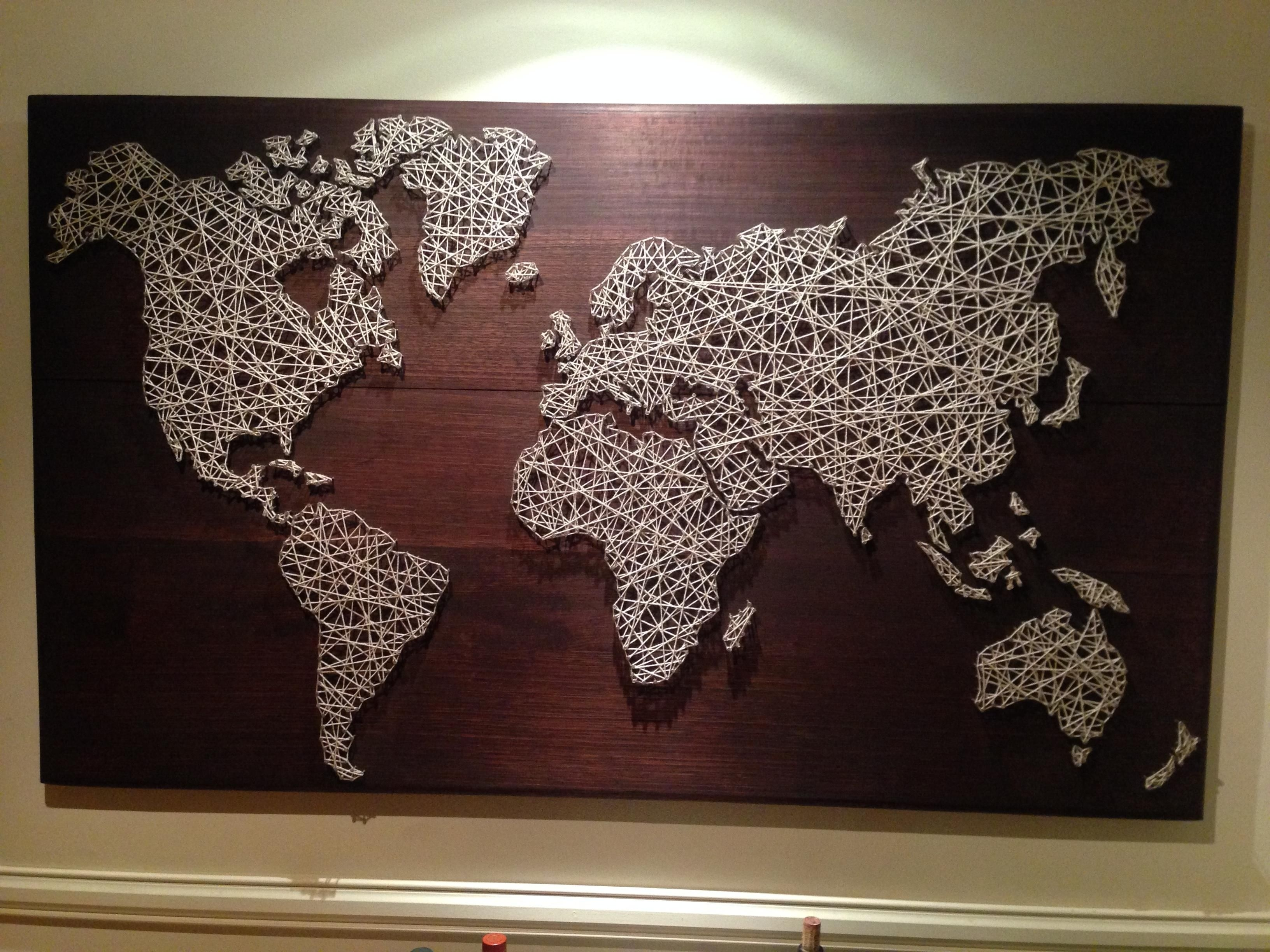 World String Art | String Art, Twine And Cotton Throughout String Map Wall Art (Photo 7 of 20)