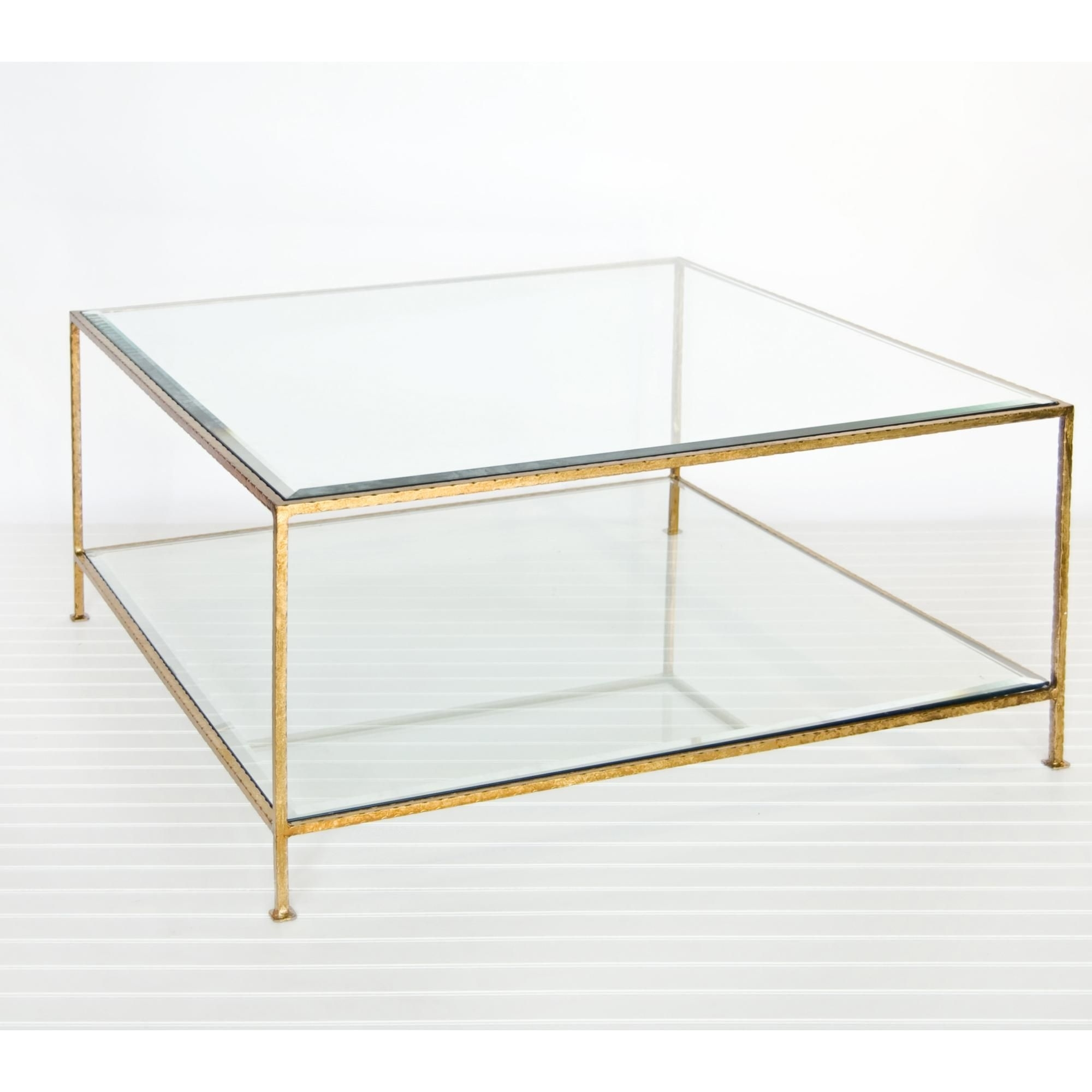 Worlds Away Quadro Coffee Table - Hammered Gold Leaf In 2018 | Nest for Acrylic Glass and Brass Coffee Tables (Image 30 of 30)