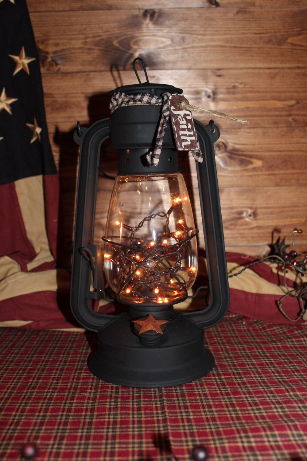 Xl Lantern W/flicker Bulb. Primitive.country Decor . Outdoor for Outdoor Railroad Lanterns (Image 20 of 20)