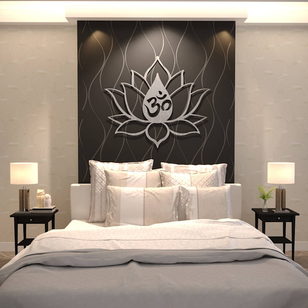 Xl Om Lotus Flower Metal Wall Art, Extra Large Metal Wall Sculpture in Large Metal Wall Art (Image 20 of 20)