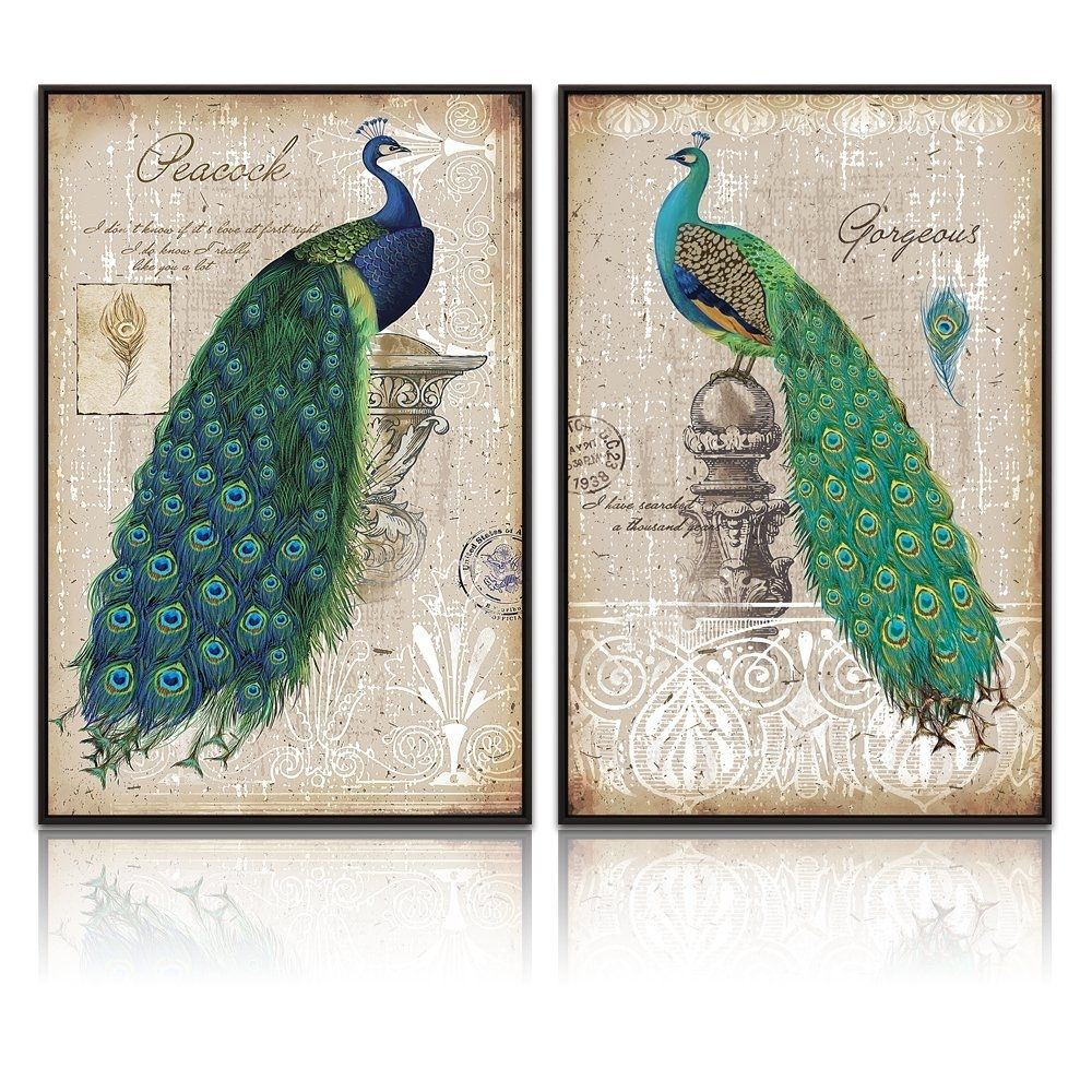 Xlarge Peacock Canvas Art Prints,peacock Canvas Wall Art Home Wall Inside Peacock Wall Art (View 17 of 20)