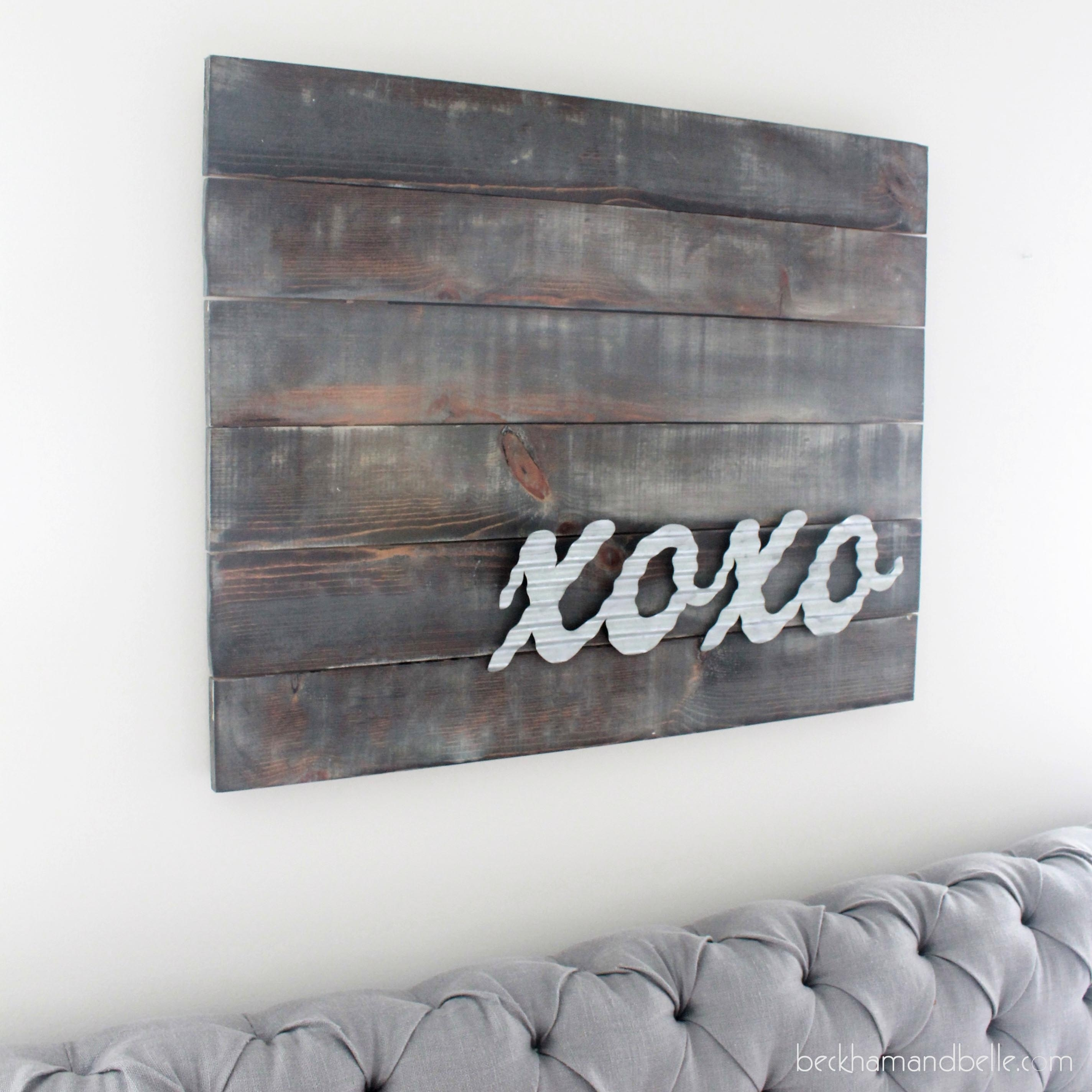 Xoxo Distressed Wooden Art With Galvanized Metal - Beckham + Belle intended for Metal Letter Wall Art (Image 20 of 20)