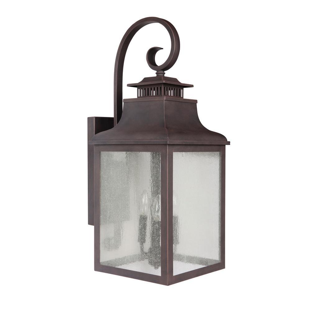 Y Decor Morgan 3 Light Rustic Bronze Outdoor Wall Mount Lantern In Outdoor Lanterns Decors (View 6 of 20)