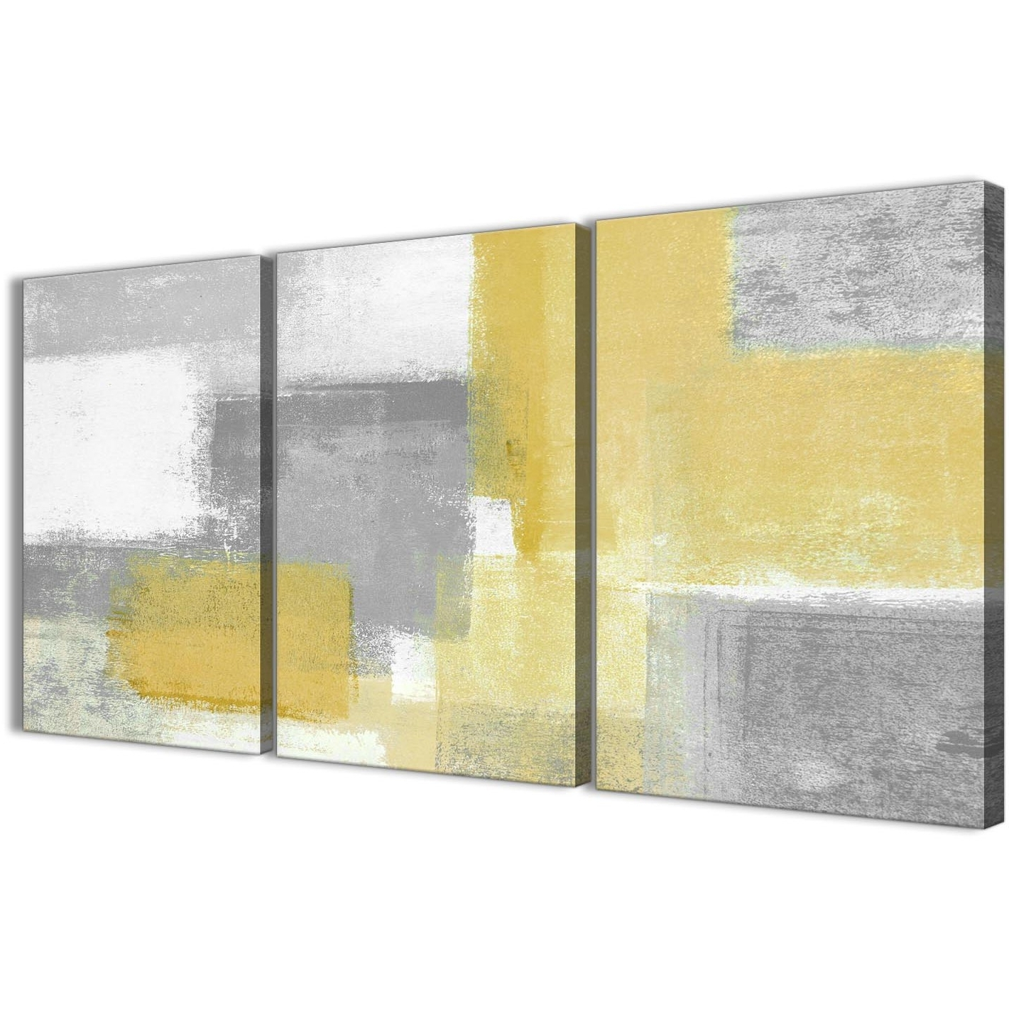 Yellow Abstract Canvas Art 3 Panel Mustard Yellow Grey Kitchen For Kitchen Canvas Wall Art Decors (Photo 19 of 20)