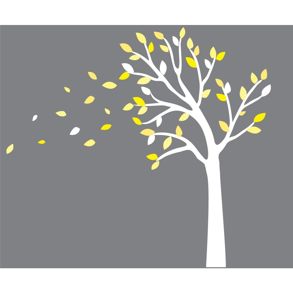 Yellow And Gray Blowing Tree Decal For Nursery For Boys With Regard To Yellow And Gray Wall Art (Photo 20 of 20)