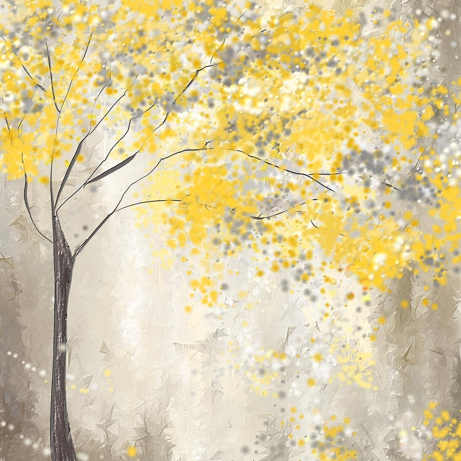 Yellow And Gray Tree Paintinglourry Legarde in Yellow And Gray Wall Art (Image 18 of 20)