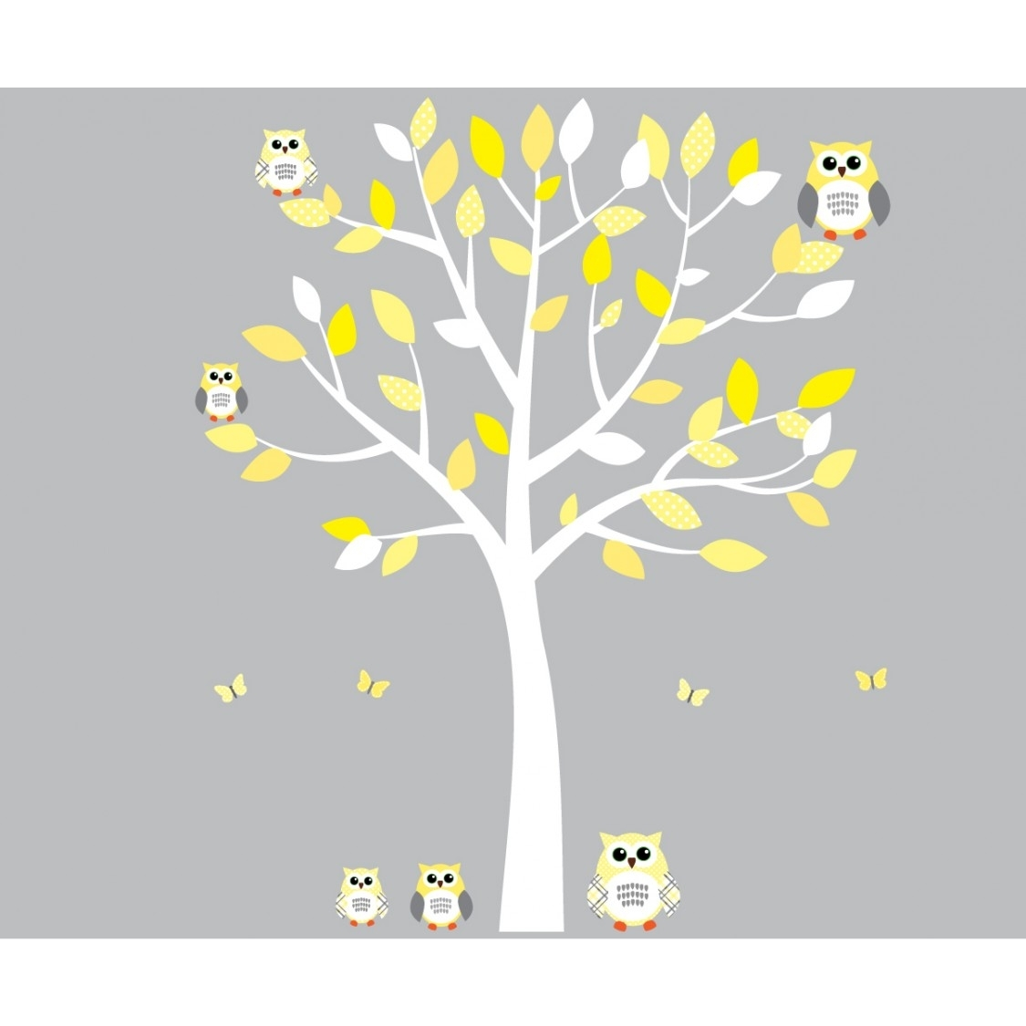 Yellow And Grey Owl Wall Art With White Tree Wall Decal For Girls Throughout Yellow And Grey Wall Art (Photo 17 of 20)