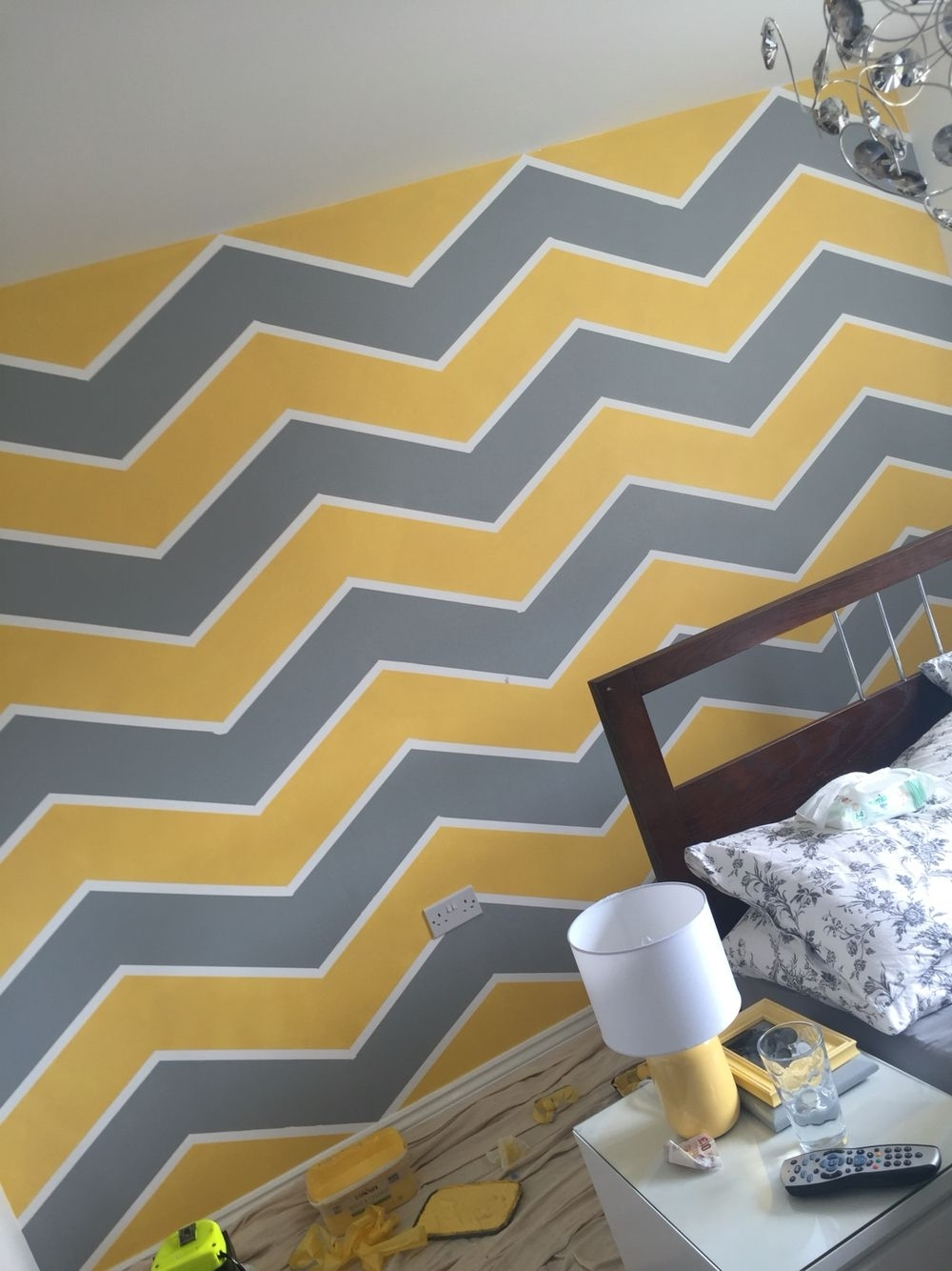 Yellow Grey Chevron Wall Art Zig Zag | Loft Ideas | Pinterest | Grey inside Chevron Wall Art (Image 20 of 20)