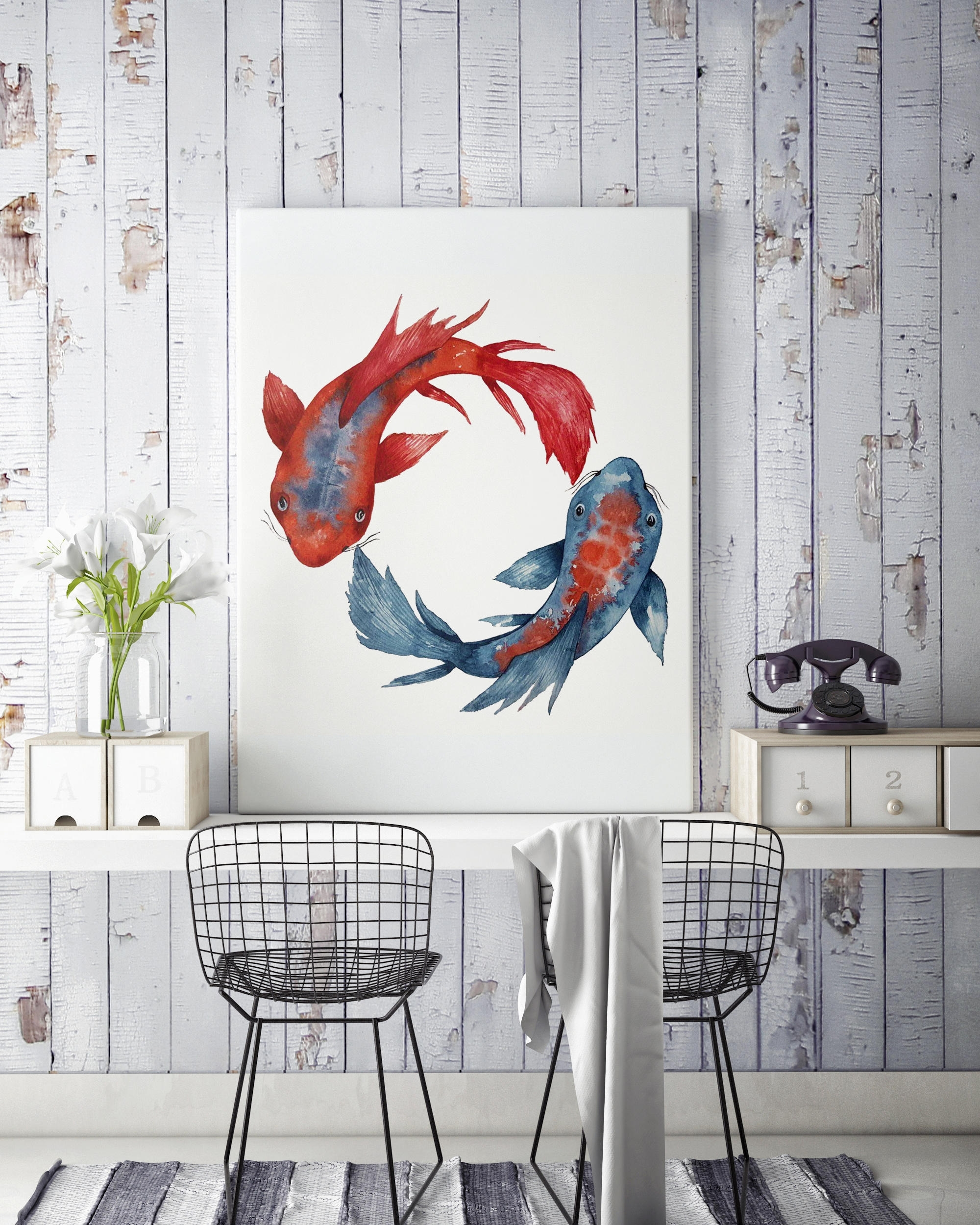 Yin Yang Koi Fish | Framed Canvas | Wall Decor | Watercolor Painting Intended For Fish Painting Wall Art (Photo 18 of 20)