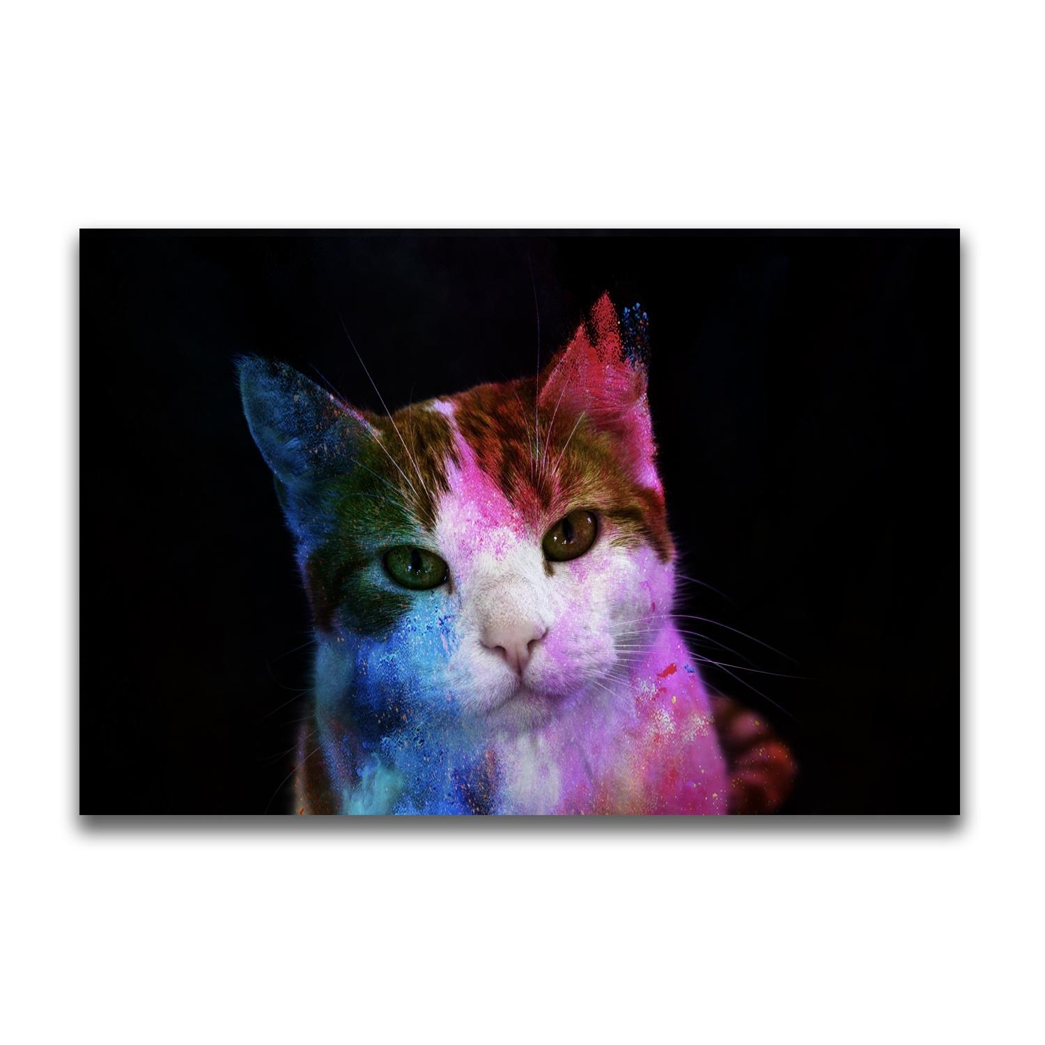 Yj Art A Colorful Cat Unframed Modern Canvas Wall Art For Home And Inside Cat Canvas Wall Art (Gallery 5 of 20)