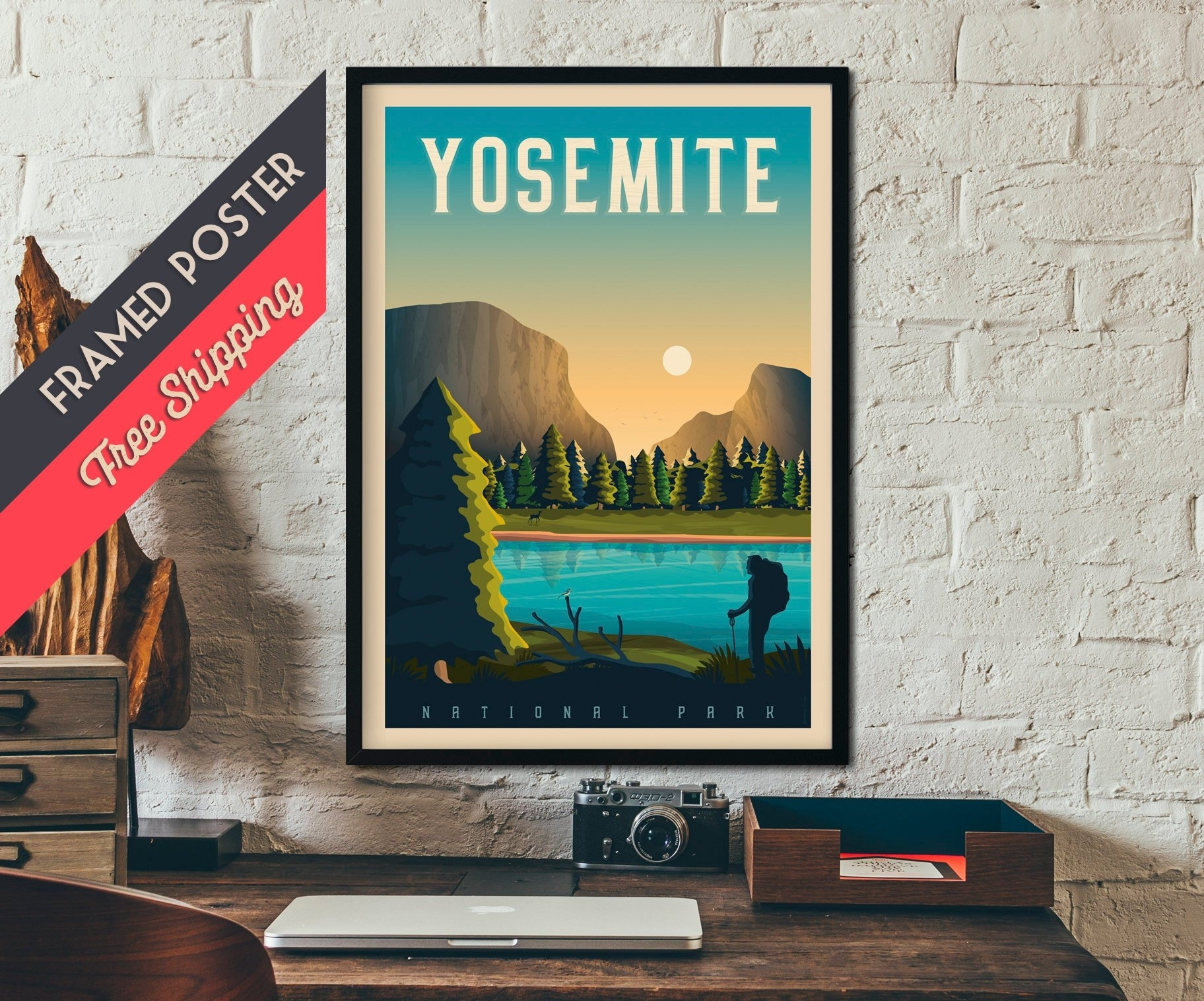Yosemite National Park Print - California Travel Poster, Framed pertaining to California Wall Art (Image 20 of 20)
