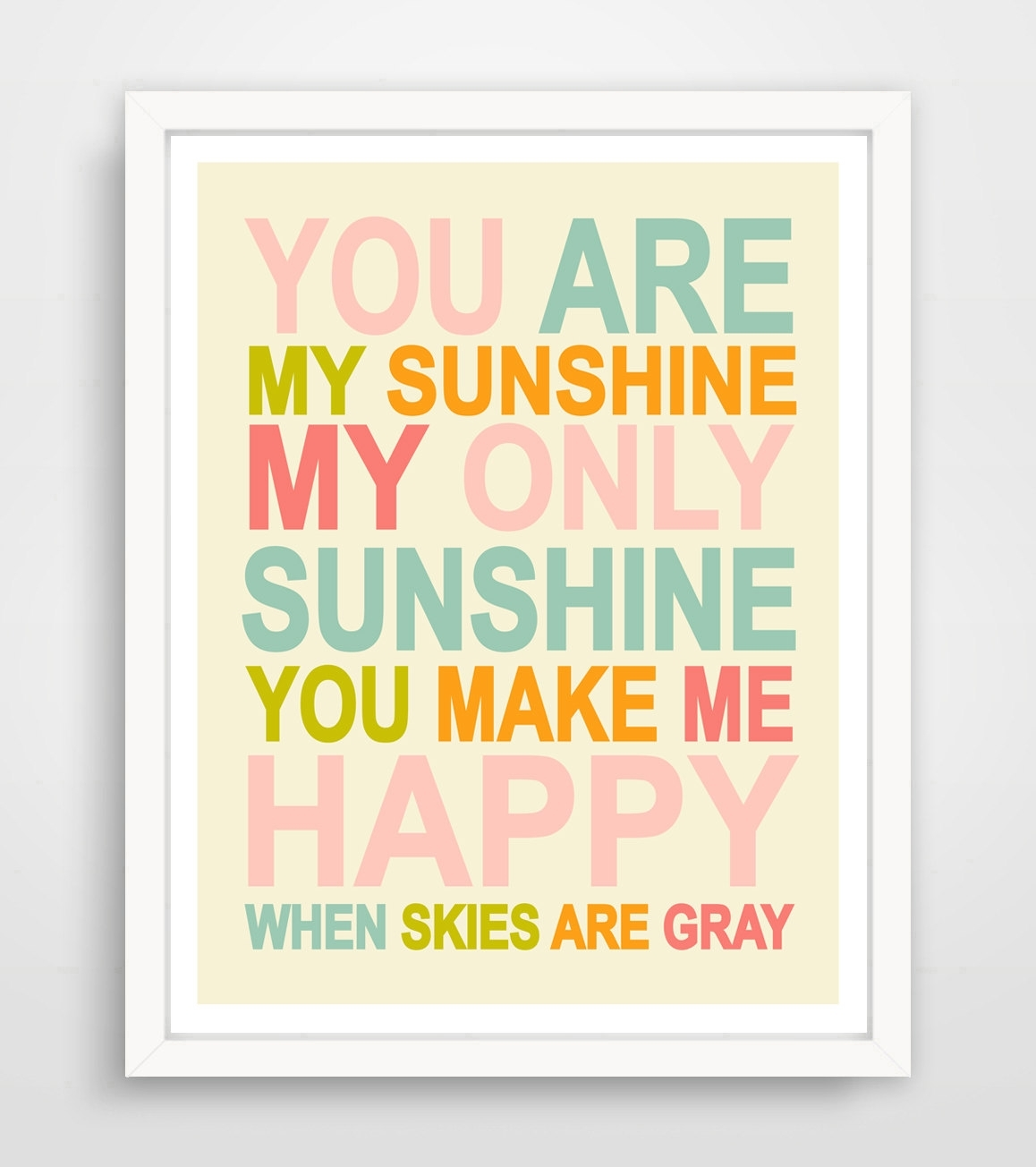 You Are My Sunshine Wall Art Kids Nursery Song Rainbow | Etsy Within You Are My Sunshine Wall Art (Gallery 4 of 25)