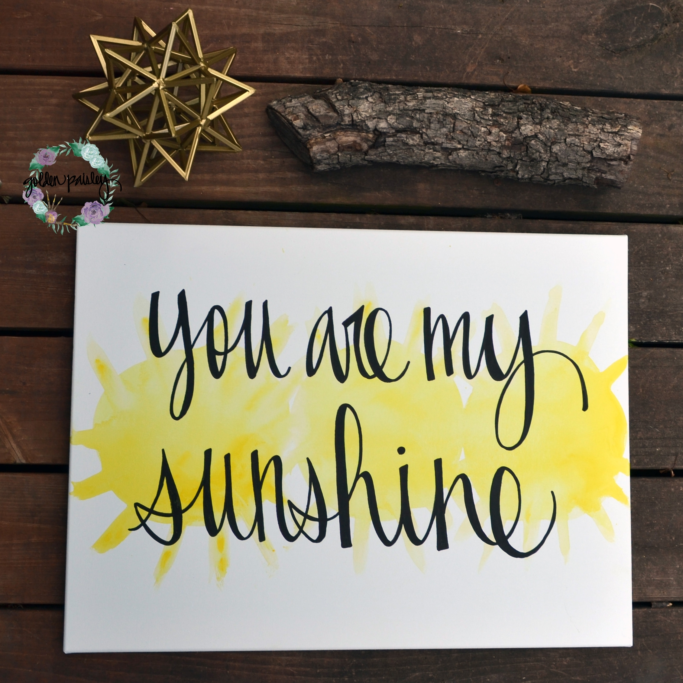 "You Are My Sunshine"" Yellow Watercolor Art Within You Are My Sunshine Wall Art (Photo 8 of 25)"