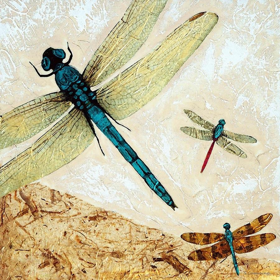 Zen Flight – Dragonfly Artsharon Cummings Paintingsharon Intended For Dragonfly Painting Wall Art (View 14 of 20)