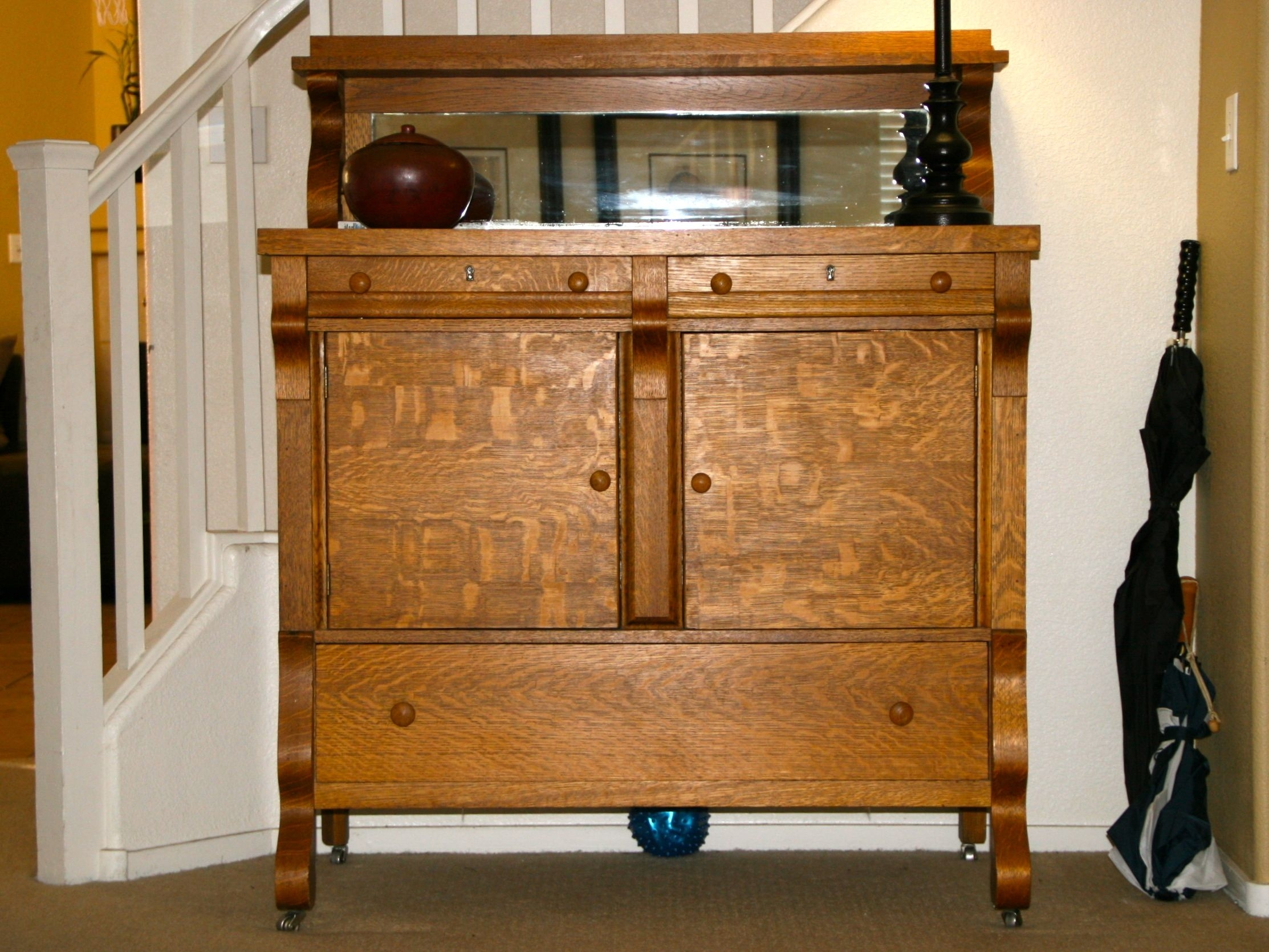 1940's Antique Tiger Oak Empire Sideboard Buffet Server | Modern with Norwood Sideboards (Image 1 of 30)