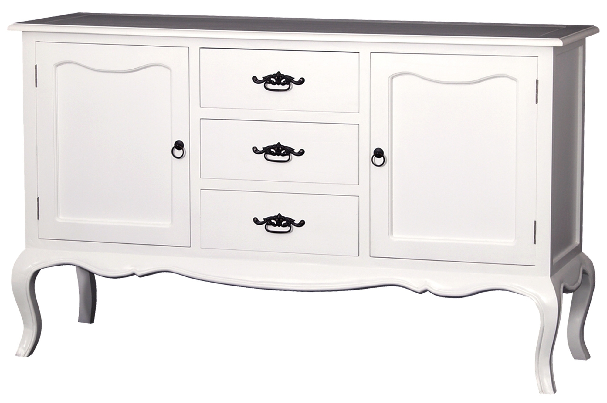 2 Door 3 Drawer French Sideboard | Temple & Webster Throughout Antique White Distressed 3 Drawer/2 Door Sideboards (Gallery 10 of 30)