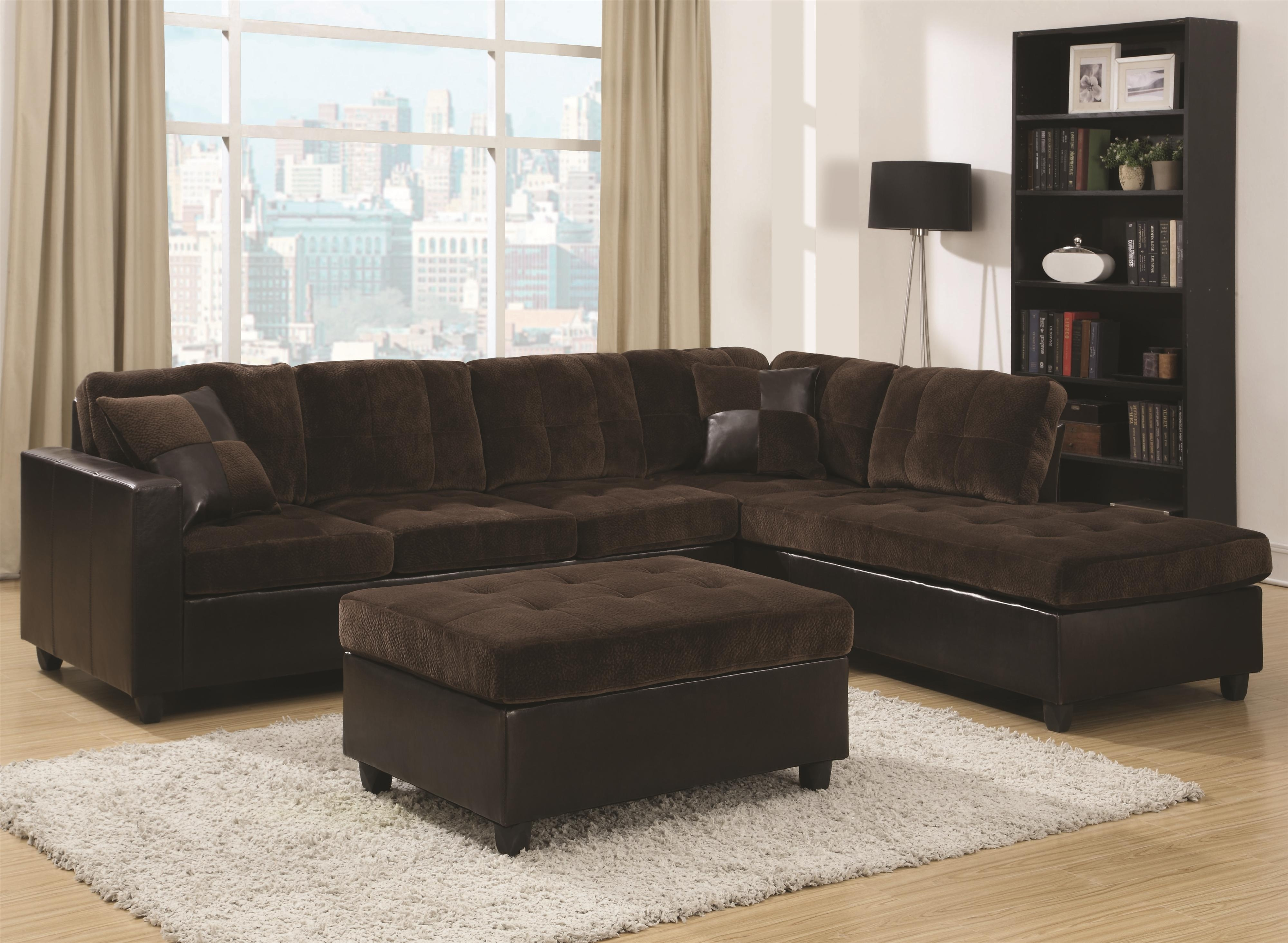 2 Tone Chocolate Padded Velvet Sectional Sofa With Reversible Chaise Regarding Mesa Foam 2 Piece Sectionals (Photo 28 of 30)
