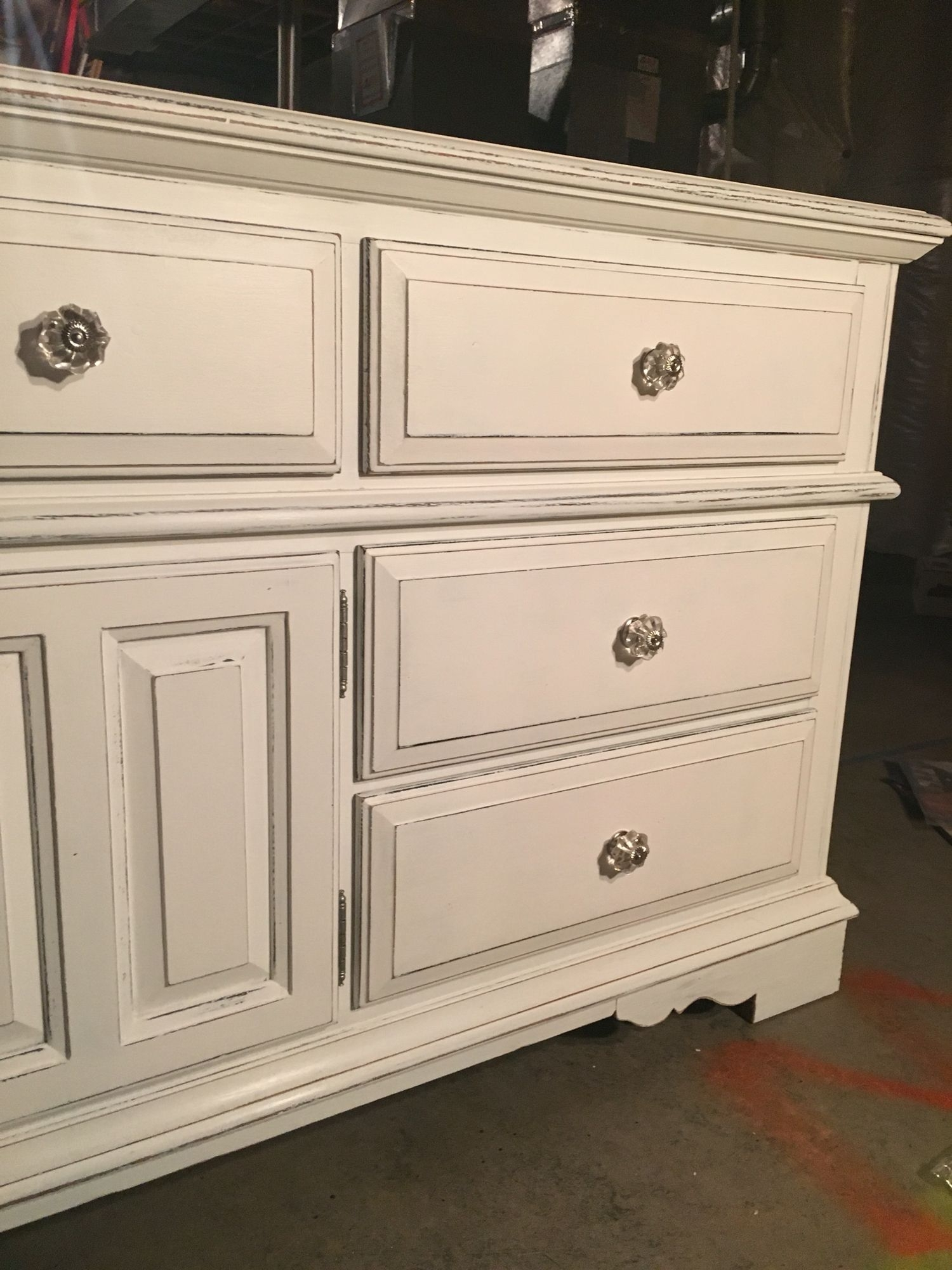 20 Year Old Broyhill Oak Dresser Painted With Black Chalk Paint Then for Satin Black & Painted White Sideboards (Image 1 of 30)