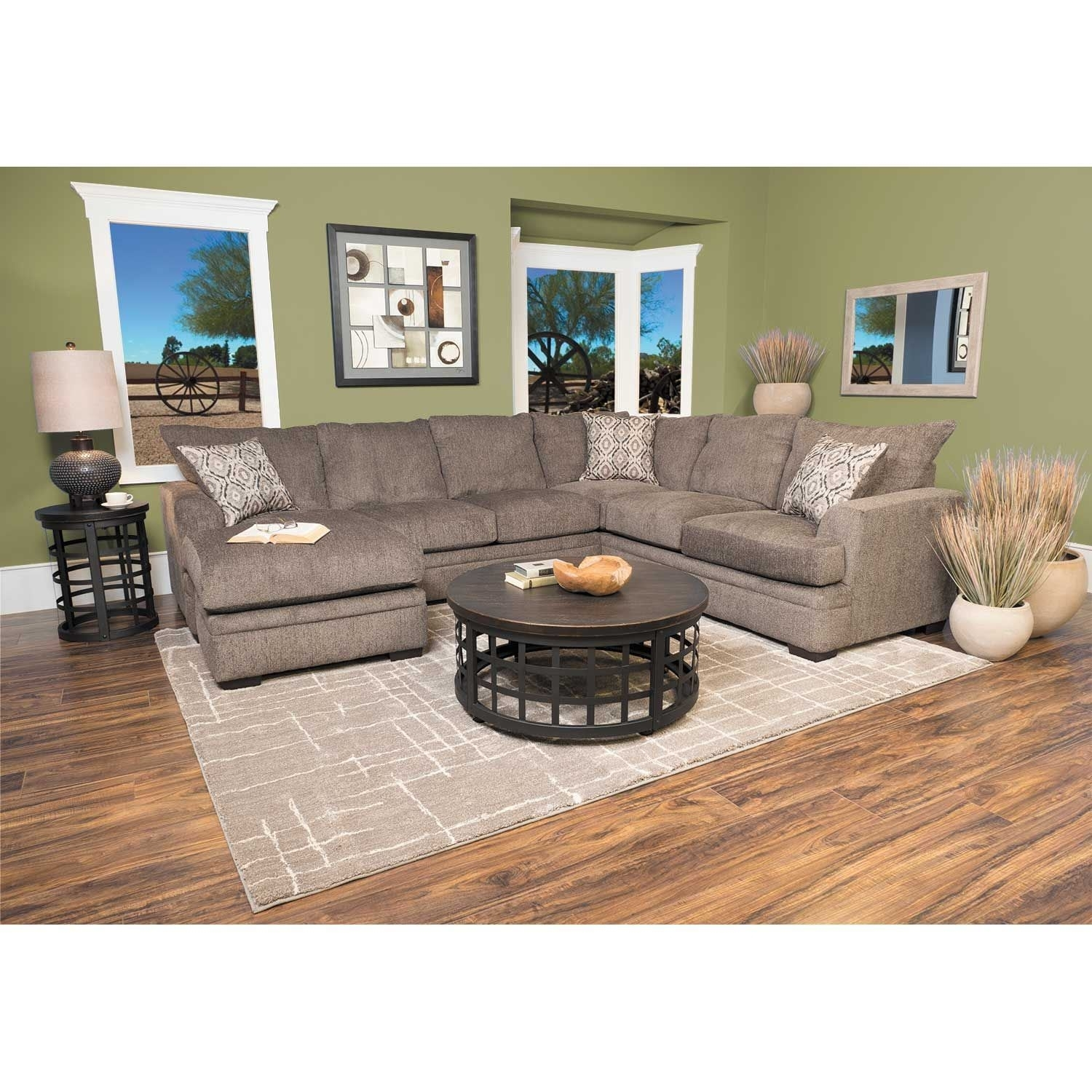 2Pc Pewter Raf Sectional W/chaise C2-68Rc-2Pc | Afw | Afw in Evan 2 Piece Sectionals With Raf Chaise (Image 2 of 30)